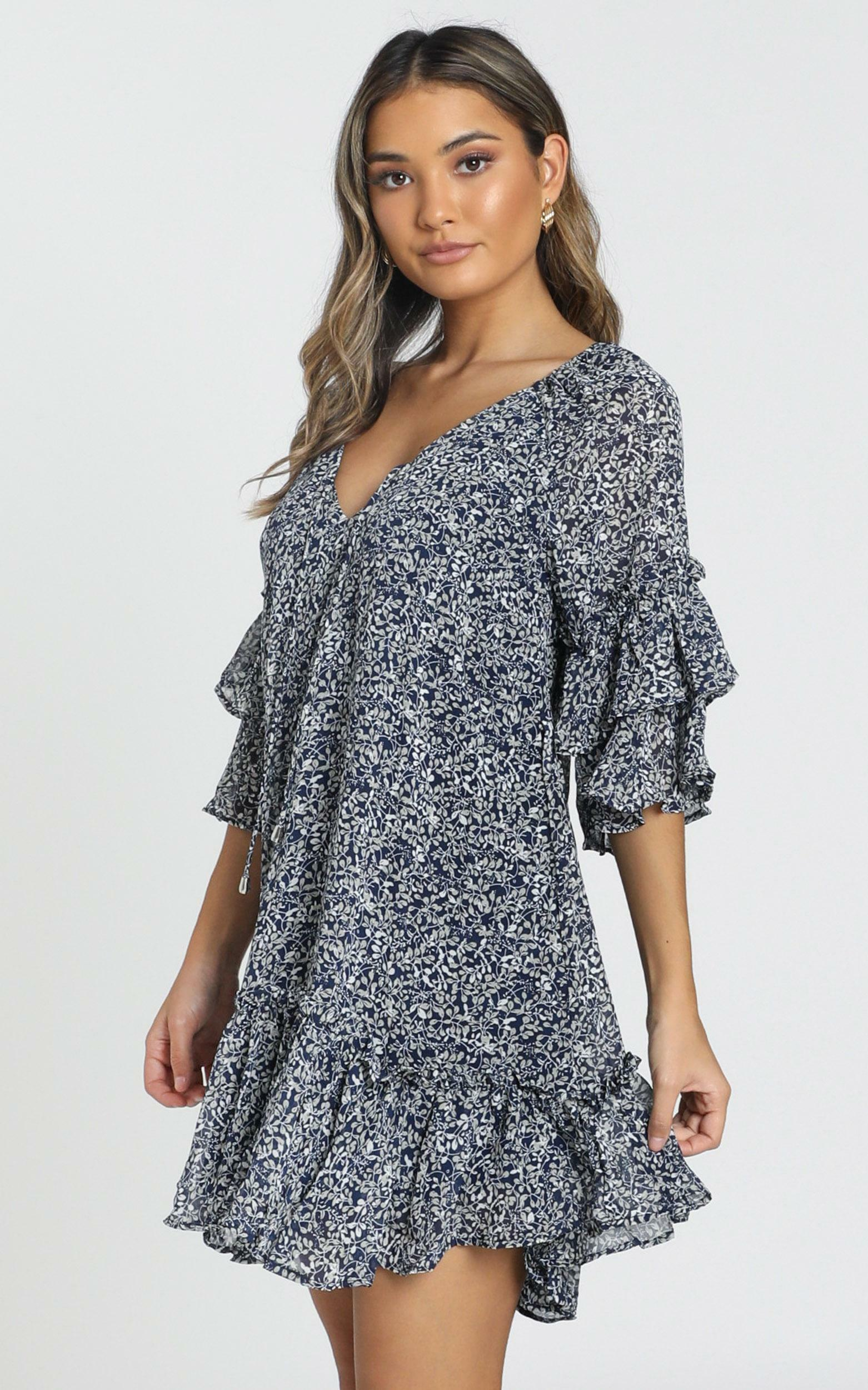 Erica Dress in navy floral - 6 (XS), Navy, hi-res image number null