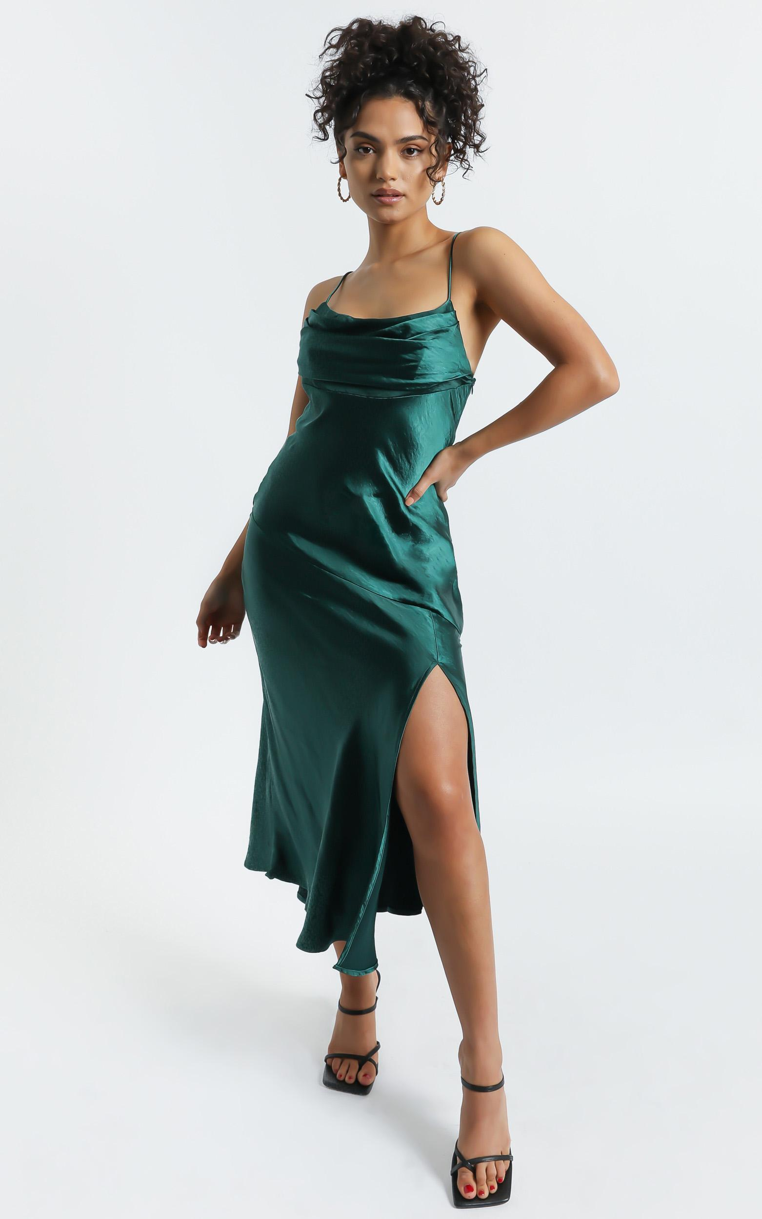 Monica Dress In Emerald Satin - 6 (XS), Green, hi-res image number null