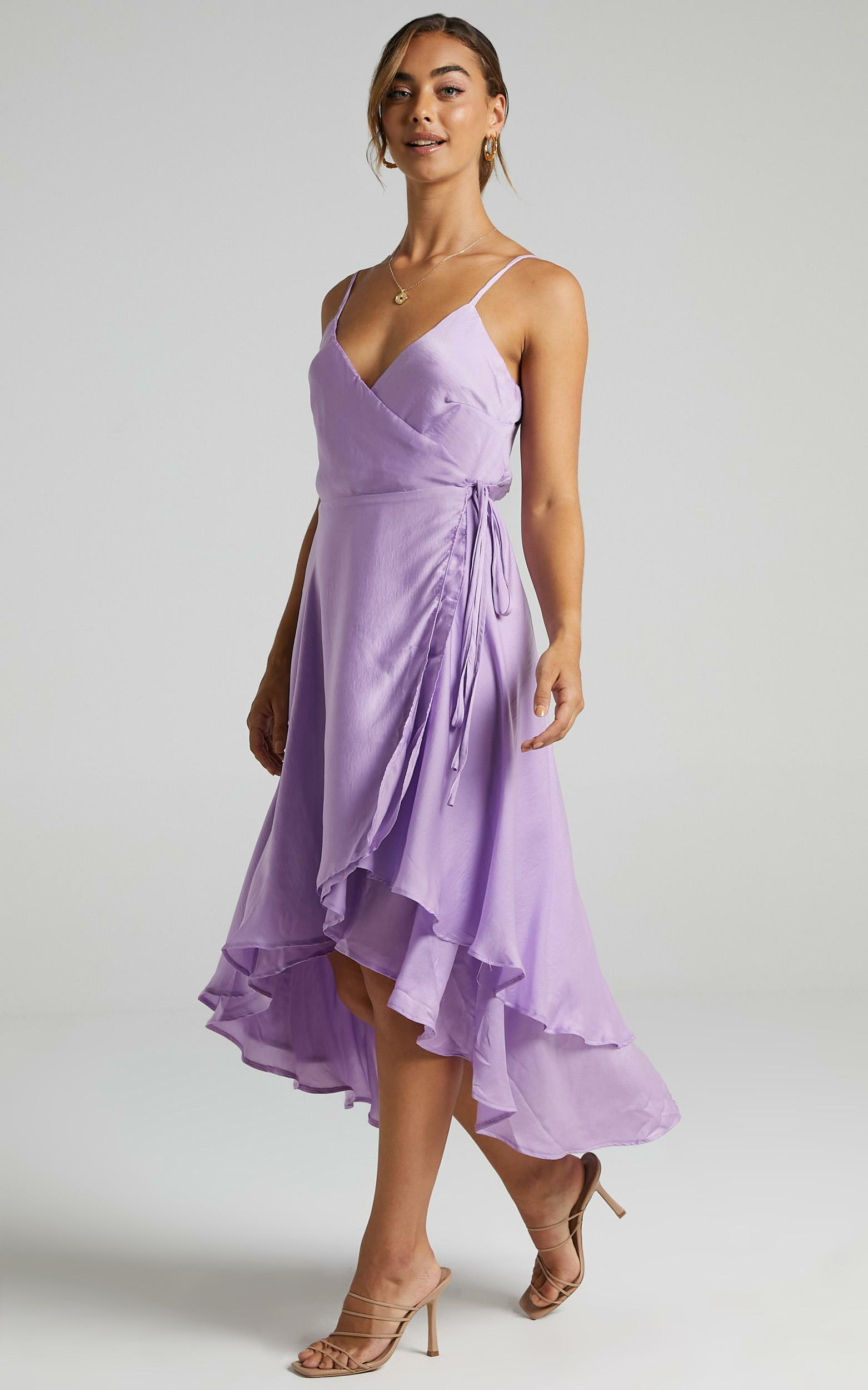 Between Fantasy Dress In Lilac Satin - 6 (XS), Purple, hi-res image number null