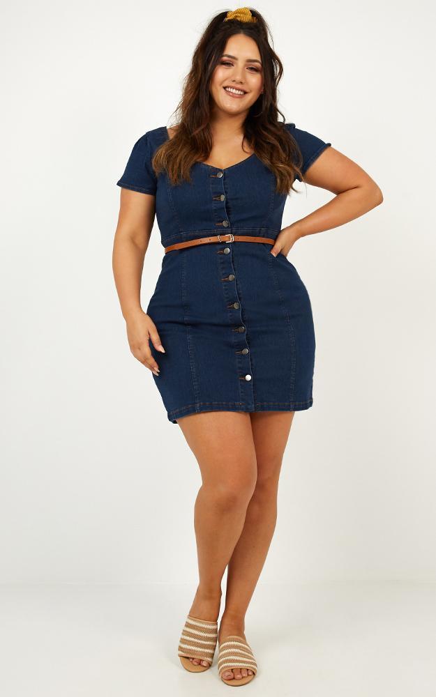 I Know you Care Dress in blue denim - 8 (S), Blue, hi-res image number null