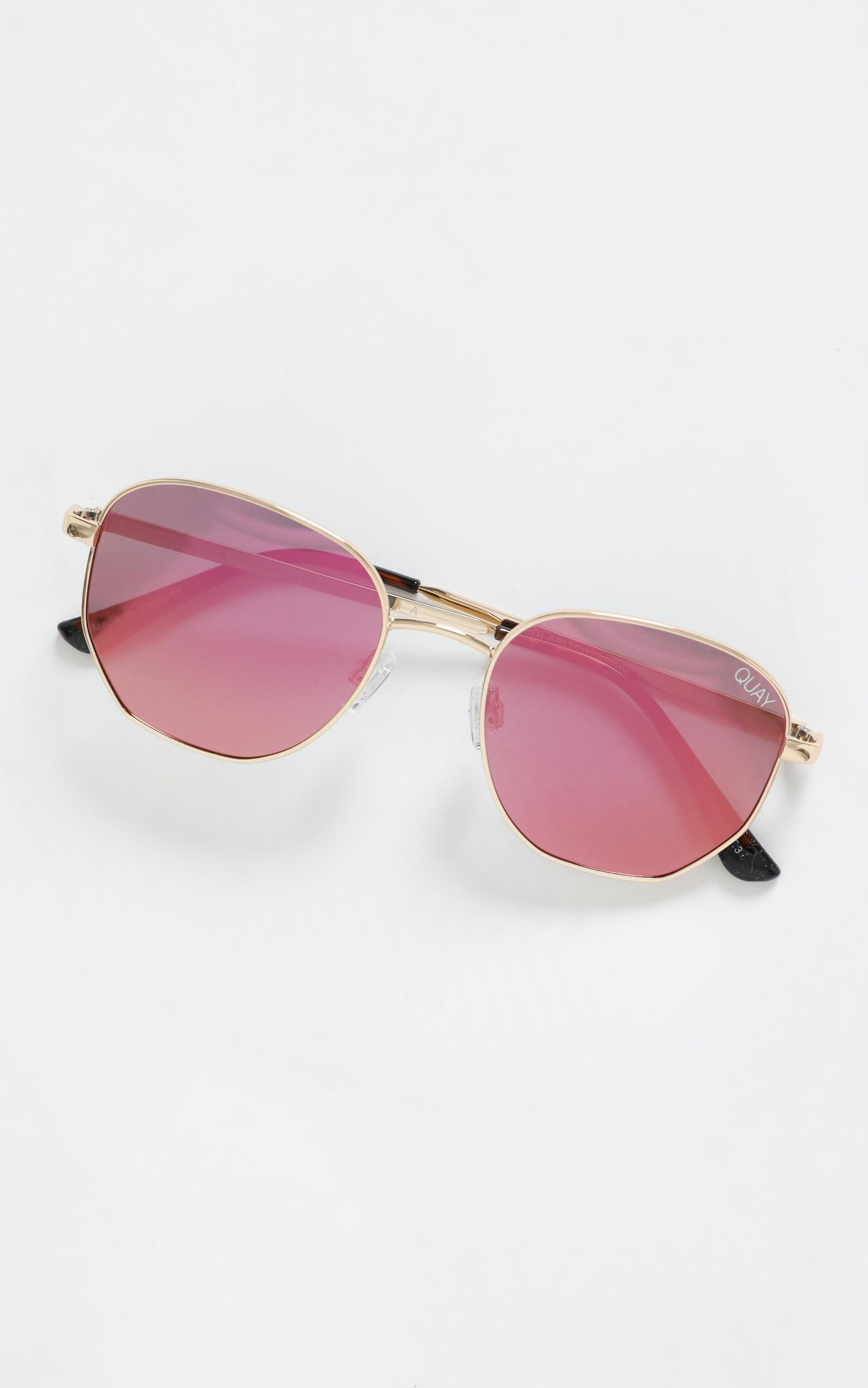 Quay - Big Time Sunglasses in Gold and Pink, , hi-res image number null