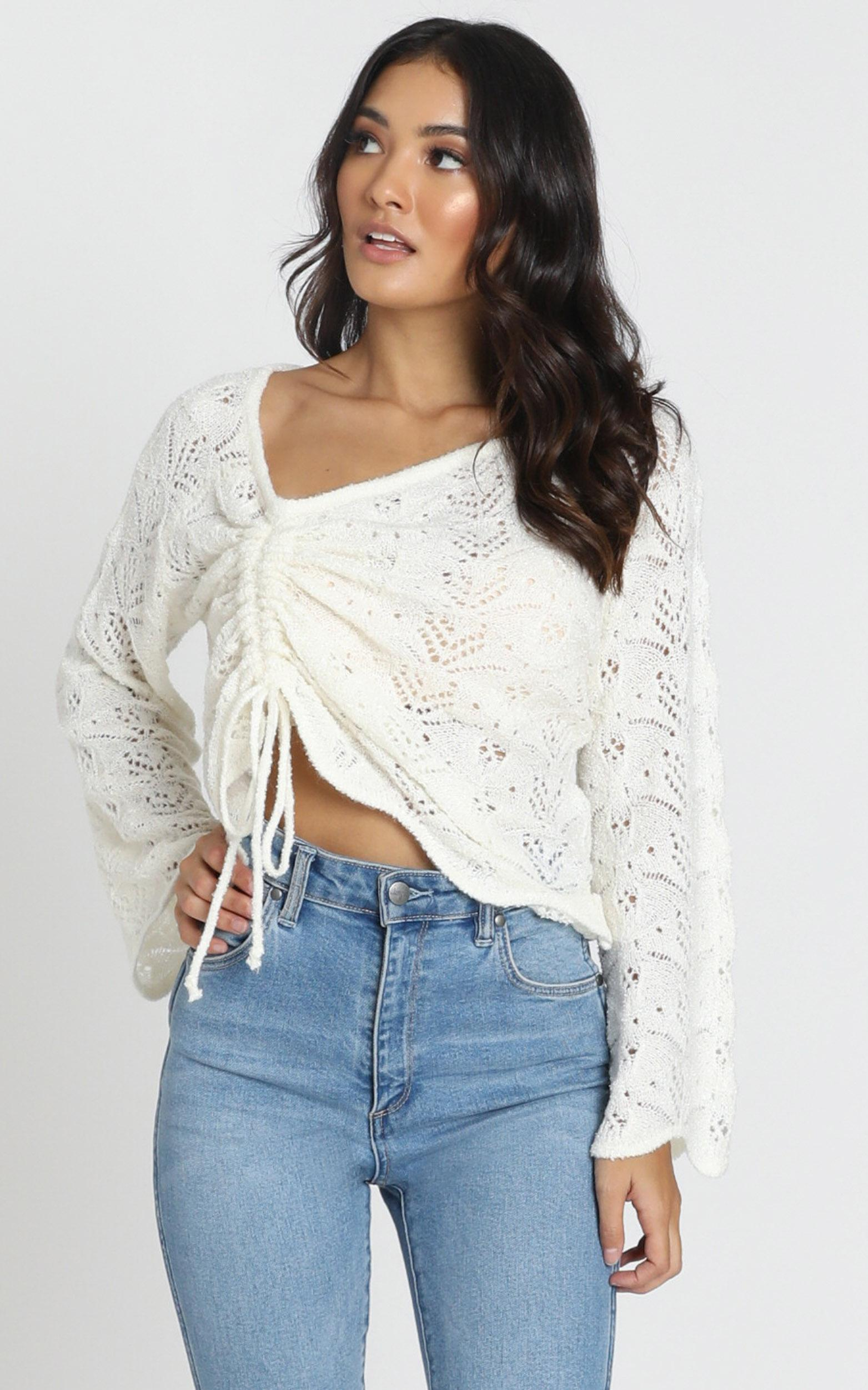 Gianna Ruched Knit in ivory - M/L, White, hi-res image number null