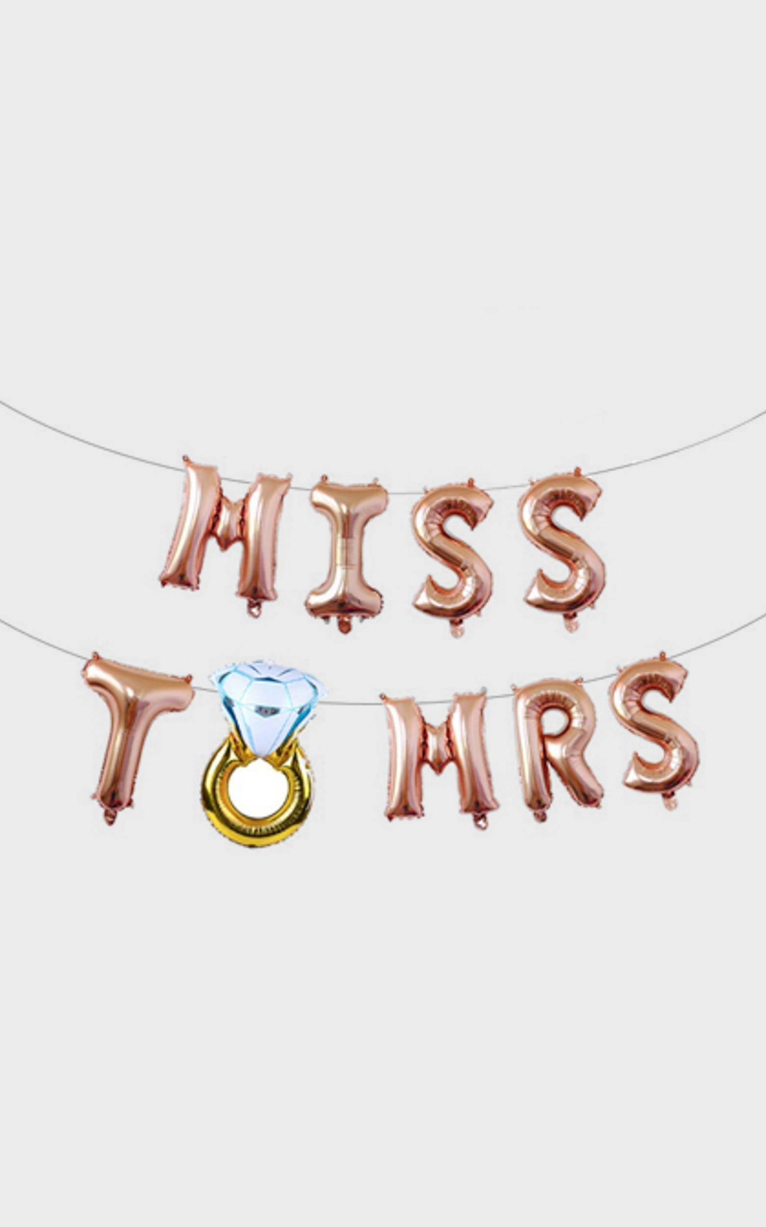 Miss To Mrs Balloon Banner in Rose Gold, RSG1, hi-res image number null