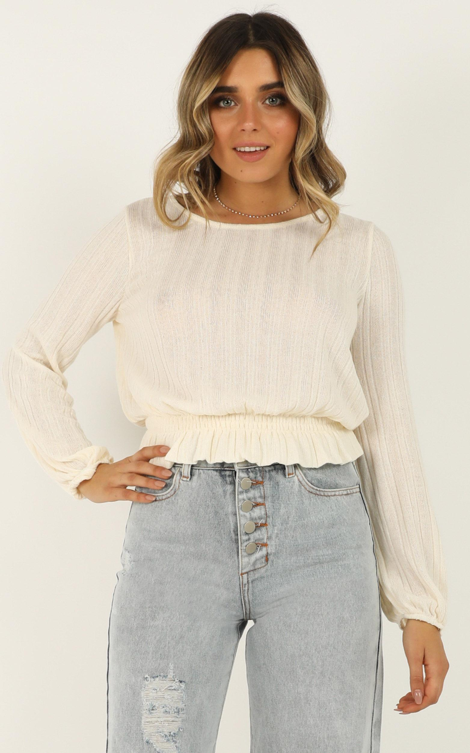 Cloudy Day knit top in cream - 12 (L), Cream, hi-res image number null