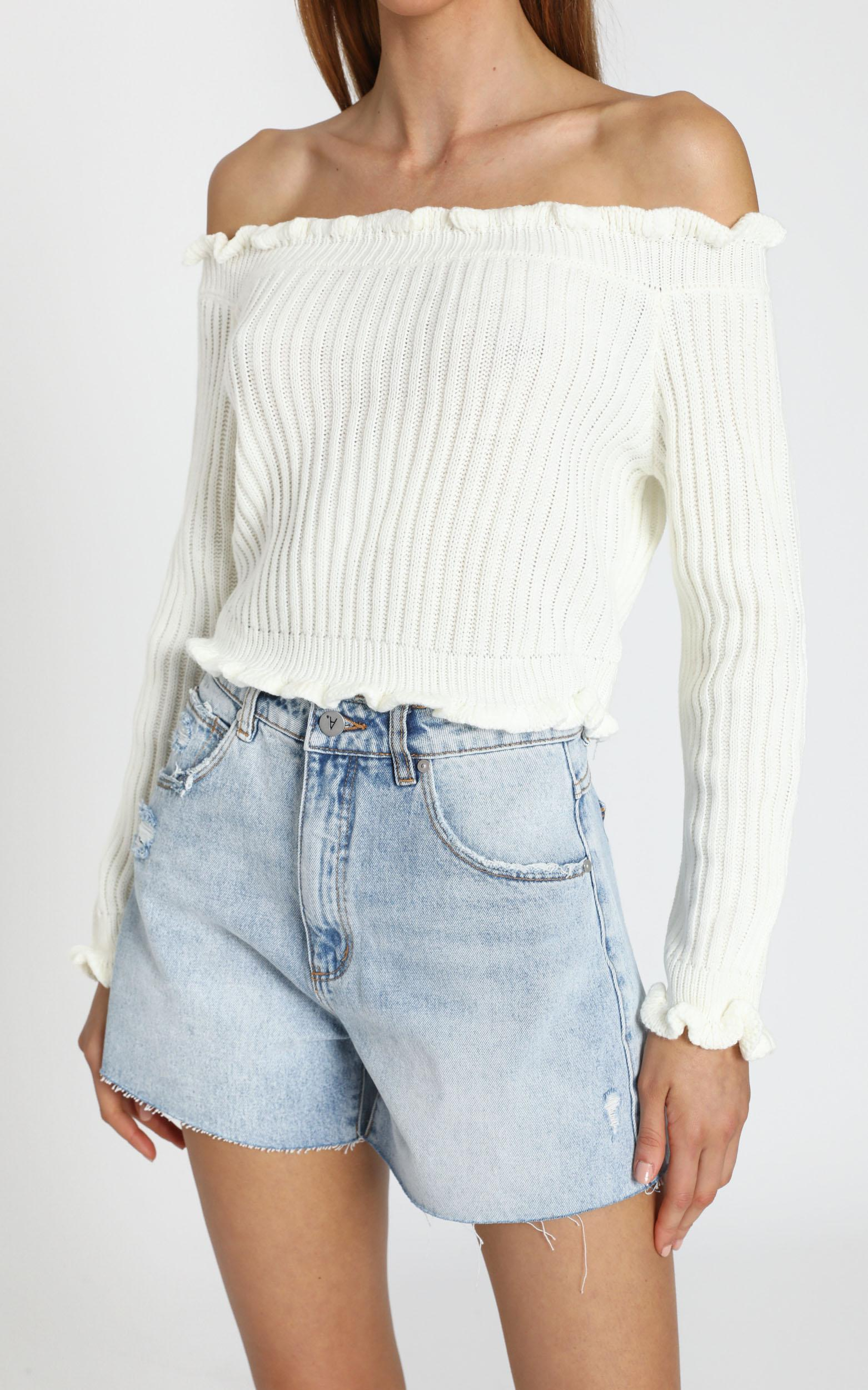 Caught You Staring Knit Jumper in white - 20 (XXXXL), White, hi-res image number null