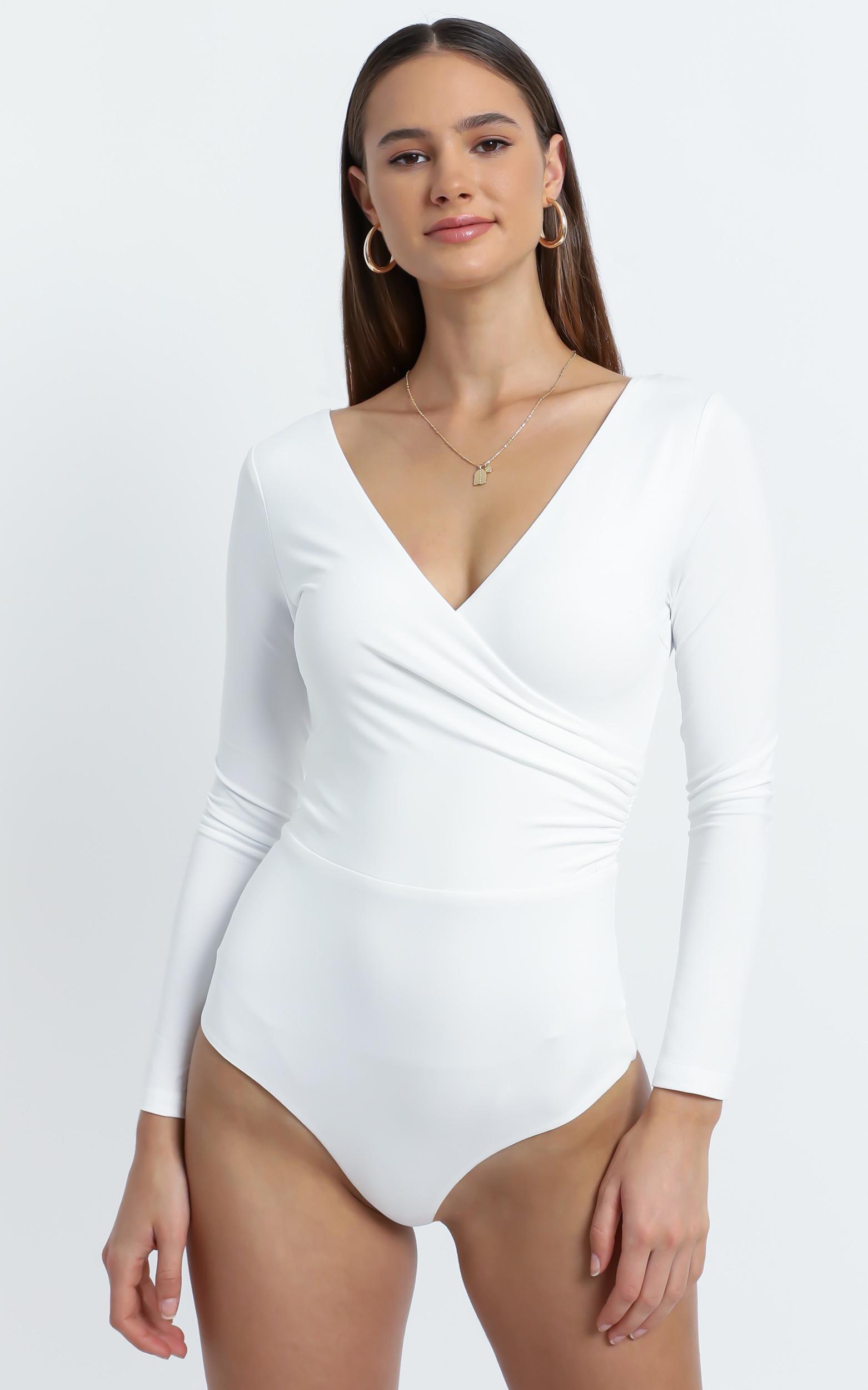 Kristina Longsleeve Bodysuit in White - 6 (XS), White, hi-res image number null