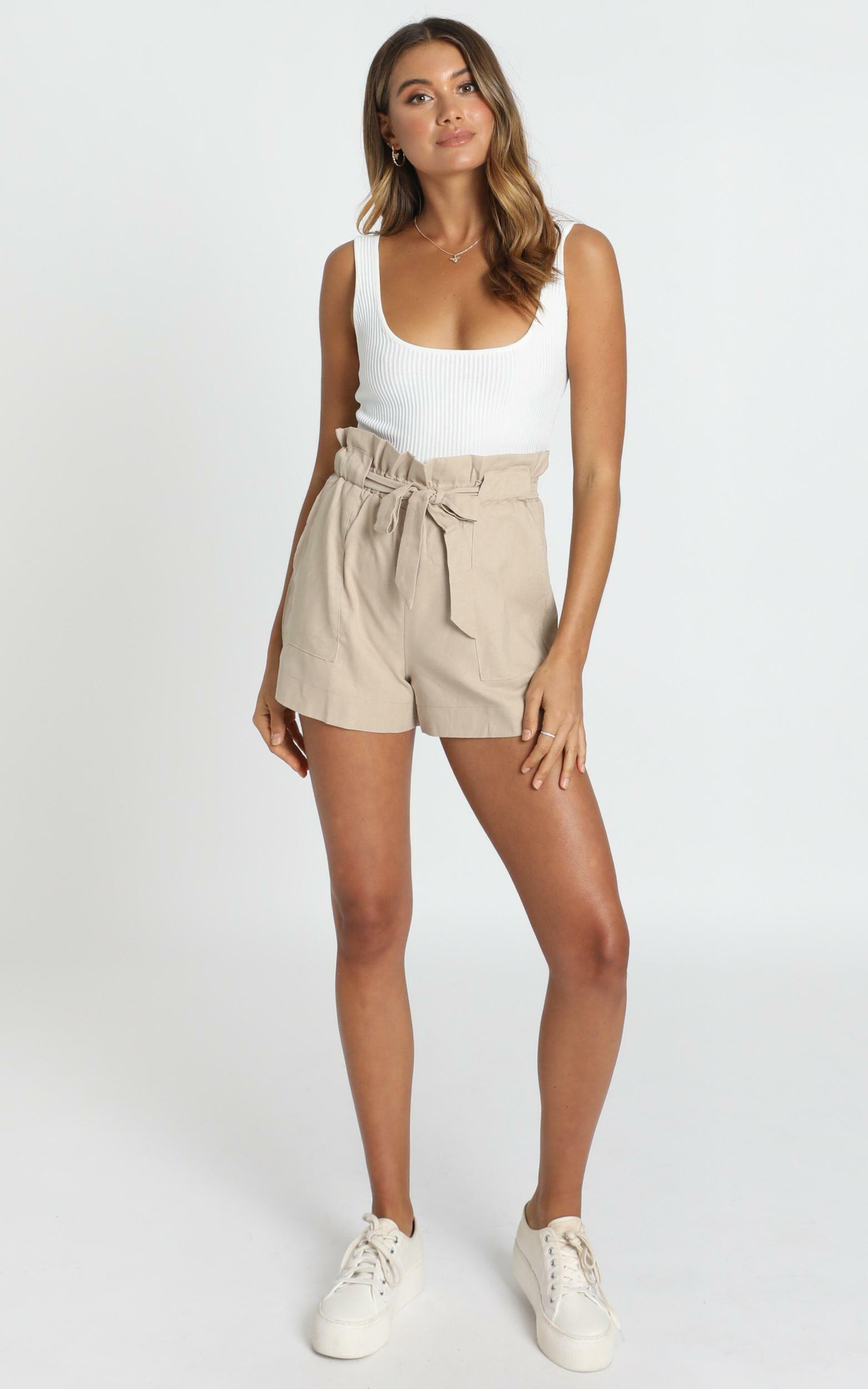 All Rounder Shorts in beige linen look - 4 (XXS), CRE1, hi-res image number null