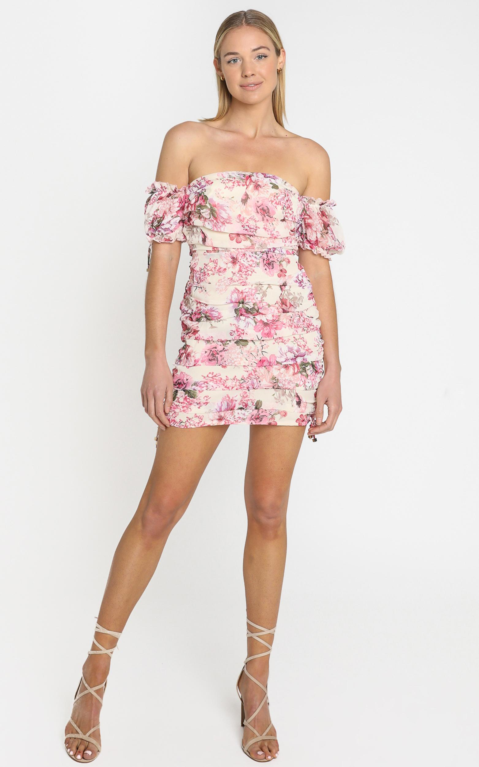 Cant Get You Off My Mind Dress in pink floral - 4 (XXS), Pink, hi-res image number null