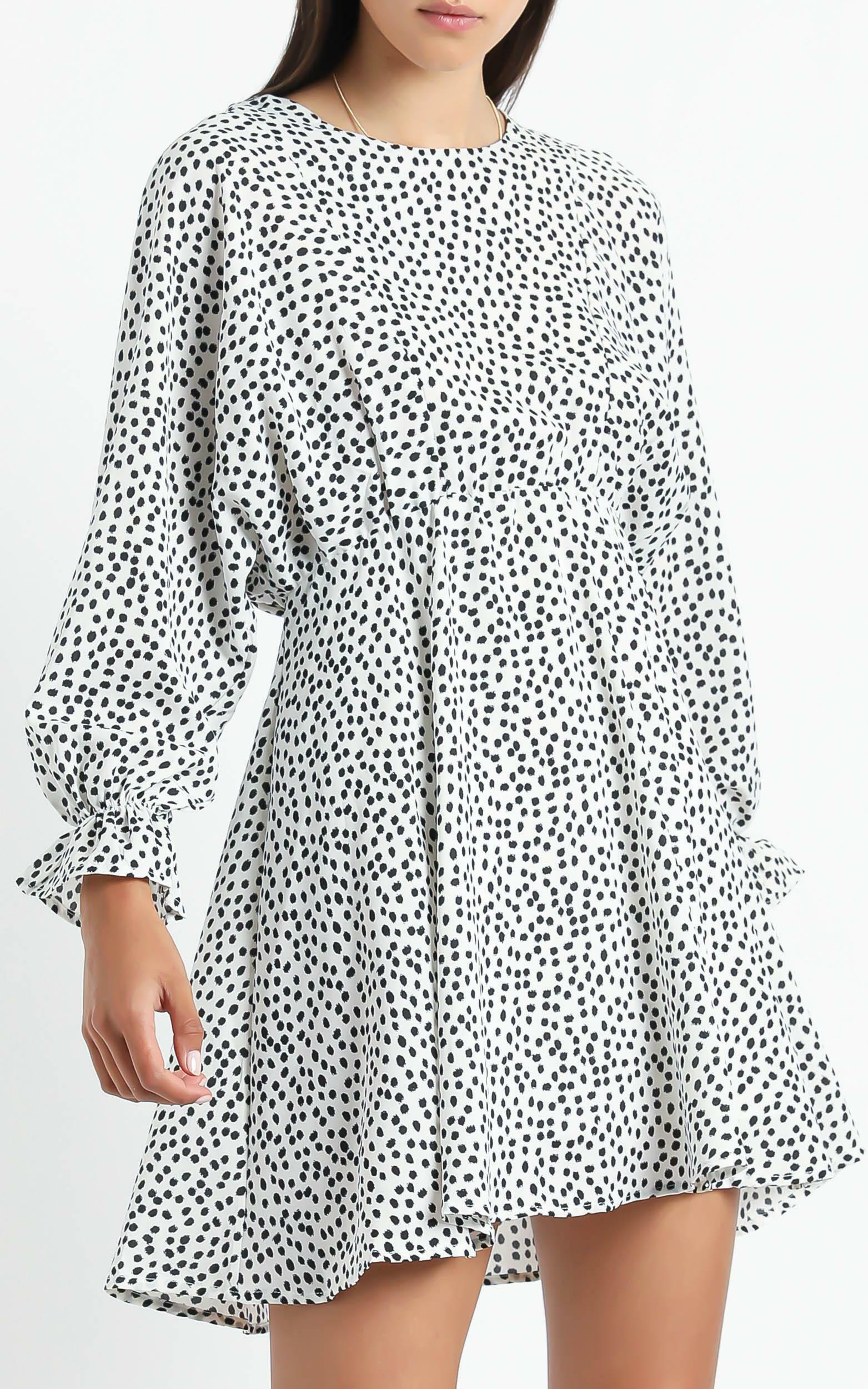 Clementina Dress in Black Spot - 6 (XS), White, hi-res image number null