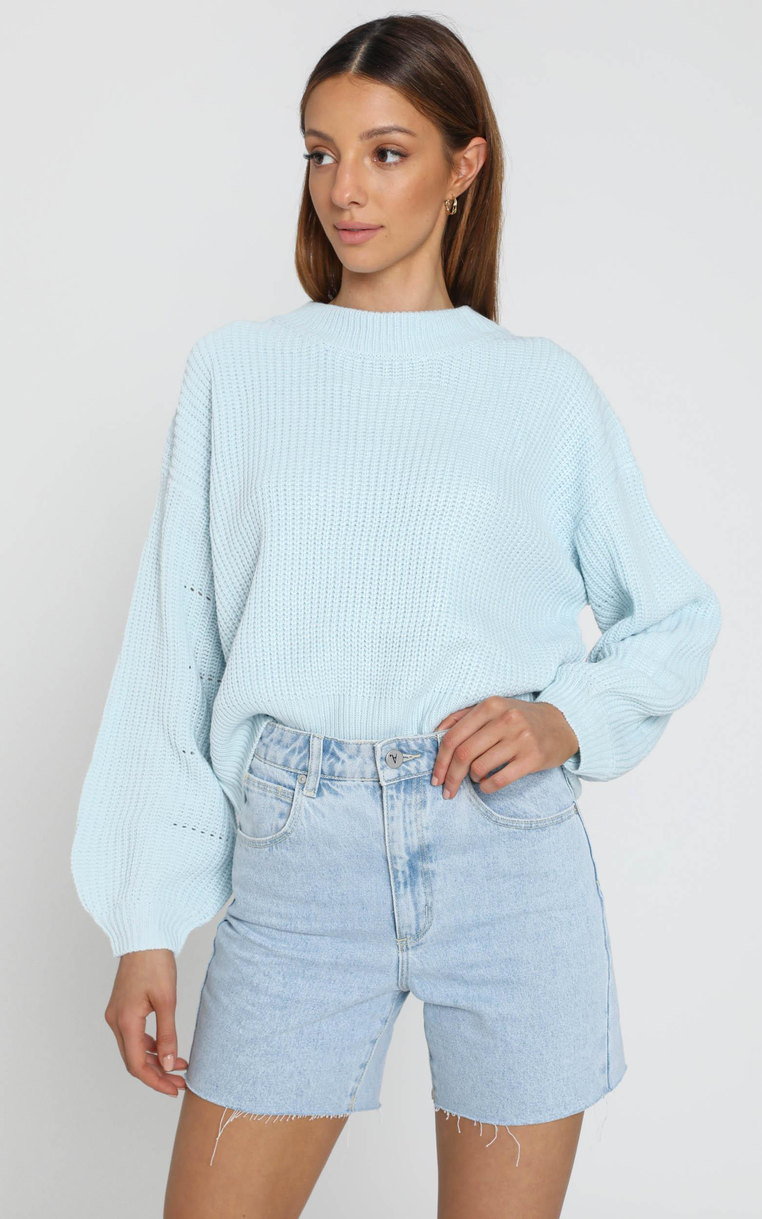 Cesca Knit Jumper in Pastel Blue - S, Blue, hi-res image number null