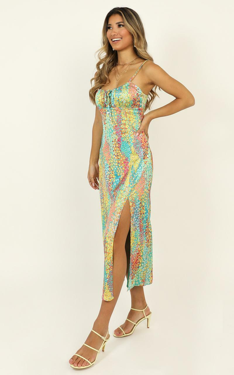 Not Your Gal Midi Dress in multi floral satin - 6 (XS), Multi, hi-res image number null
