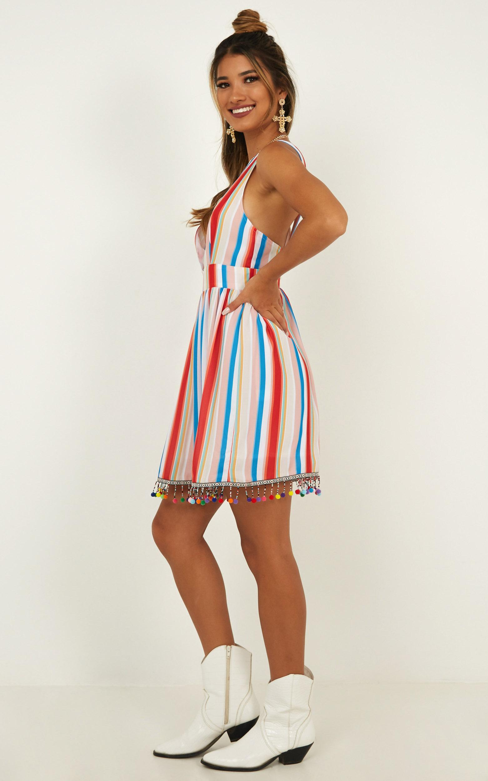 Surrender To The Night Dress in rainbow stripe - 20 (XXXXL), Beige, hi-res image number null