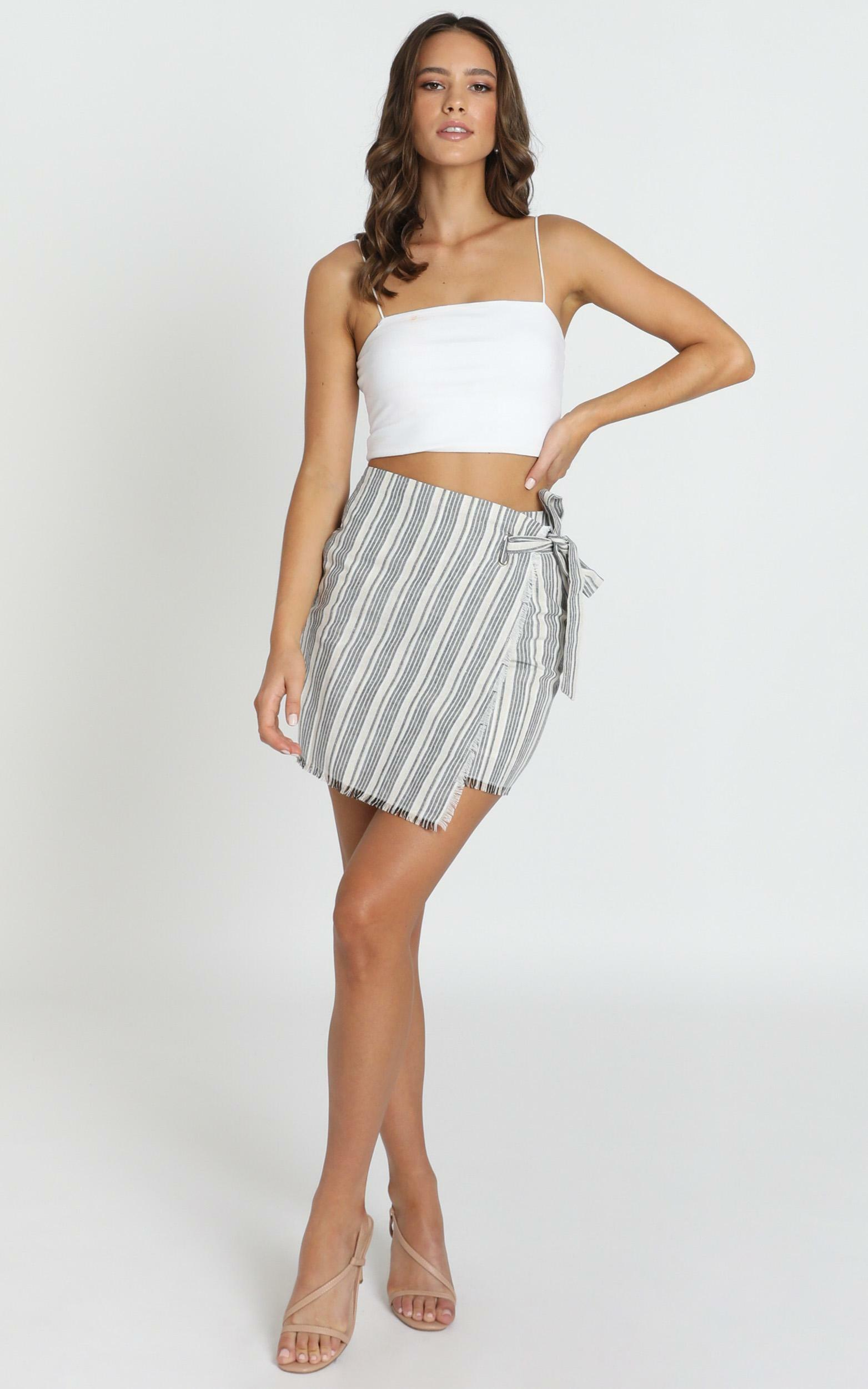 Bad At Goodbye skirt in grey stripe - 8 (S), Grey, hi-res image number null