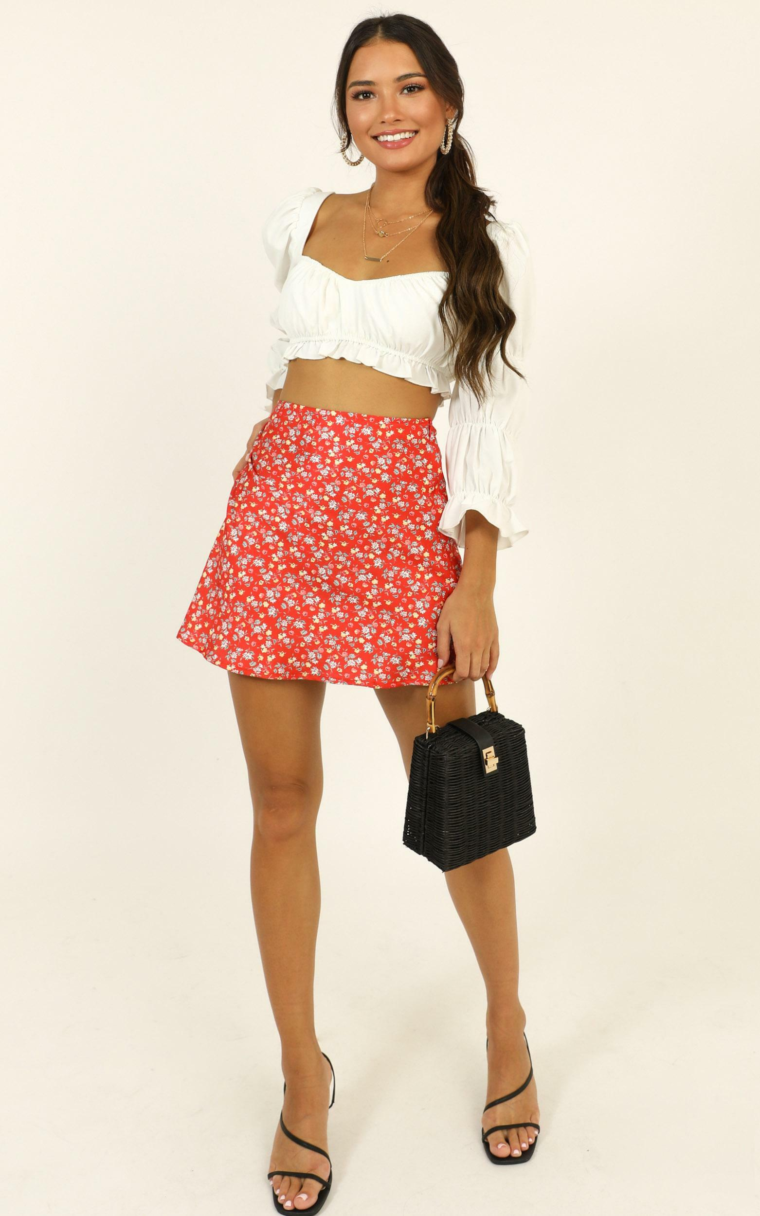 Puzzle Pieces skirt in red floral - 12 (L), Red, hi-res image number null