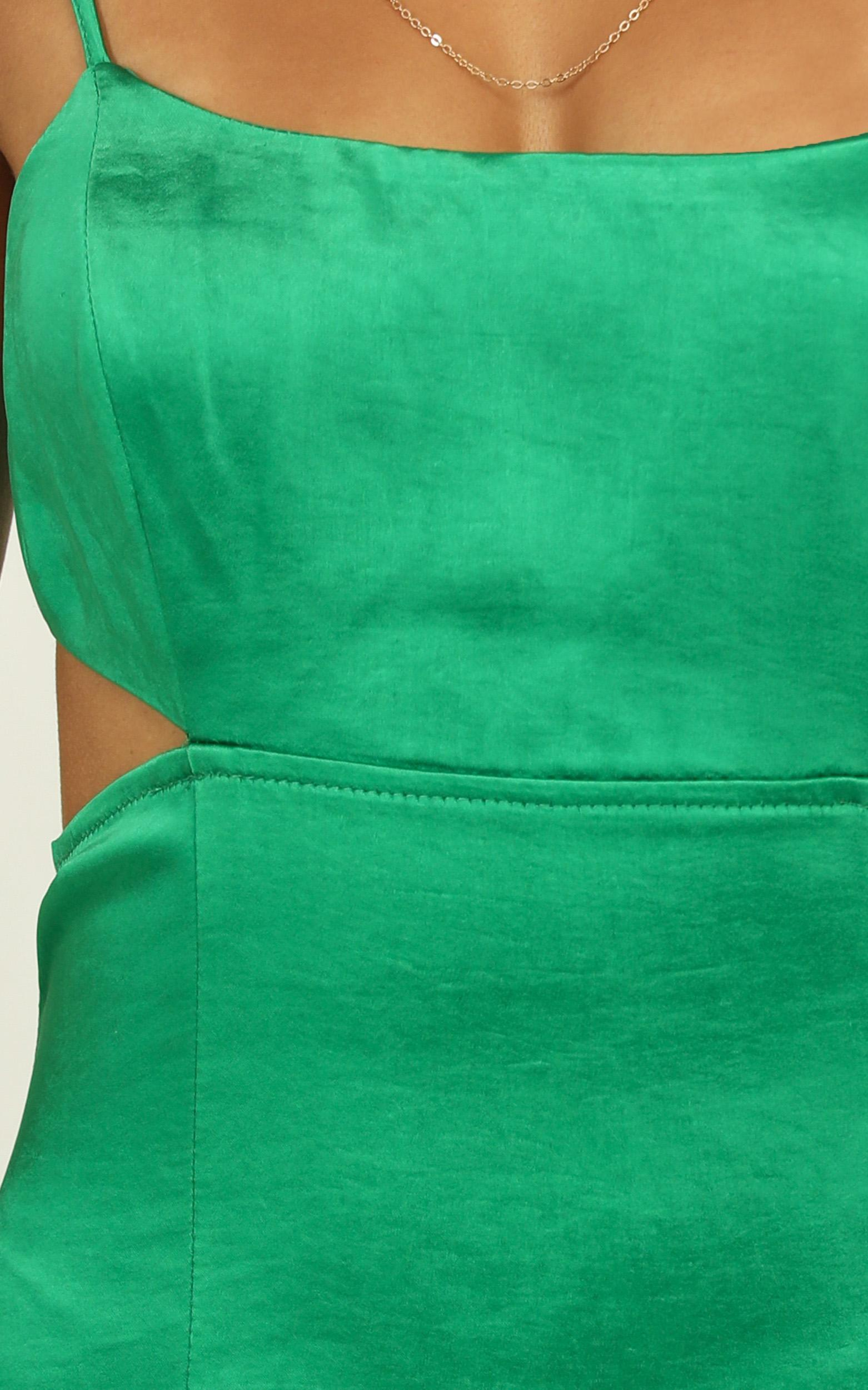 A Special Mention Dress in green satin - 14 (XL), Green, hi-res image number null