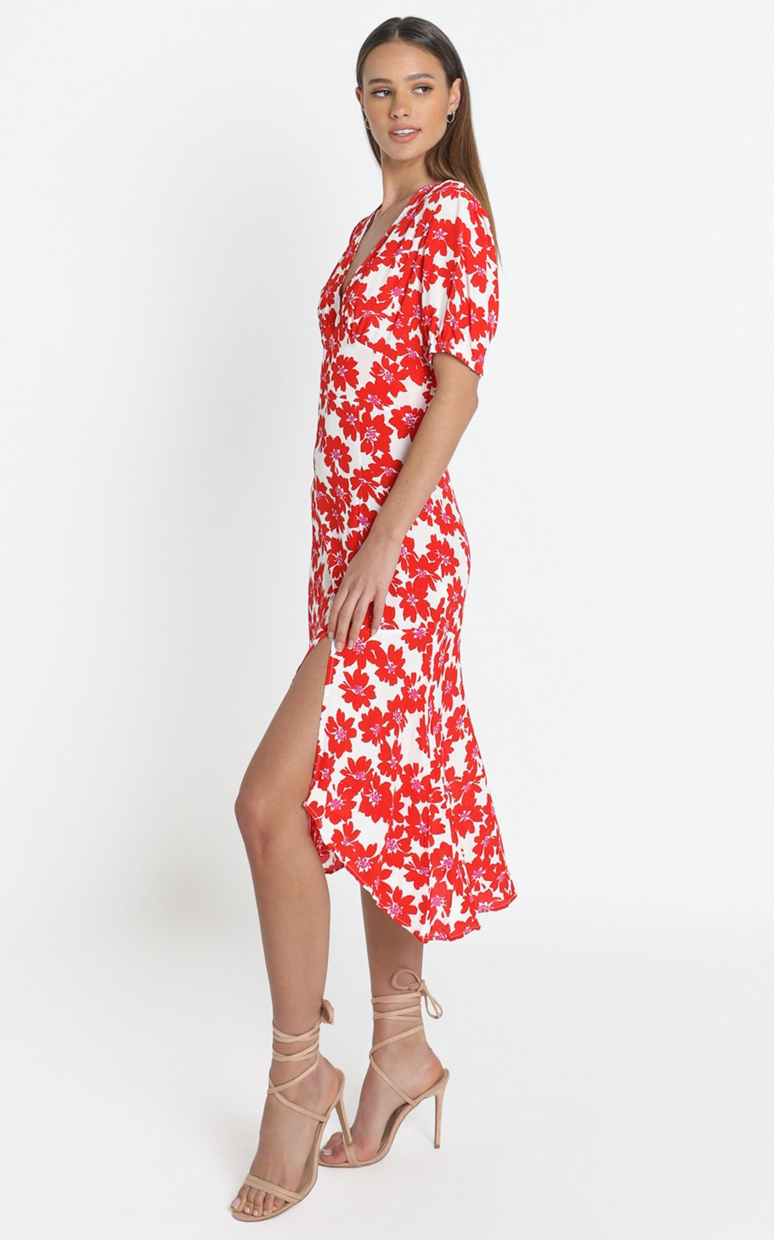 Arial Dress in Red Floral - 14 (XL), Red, hi-res image number null