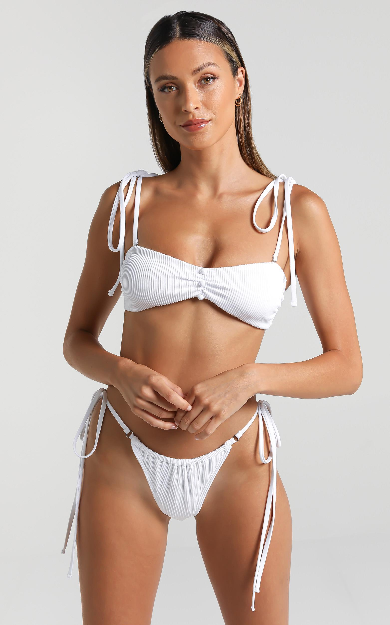 Twiin Swim - Celine Ruched Bandeau in White - XS, White, hi-res image number null