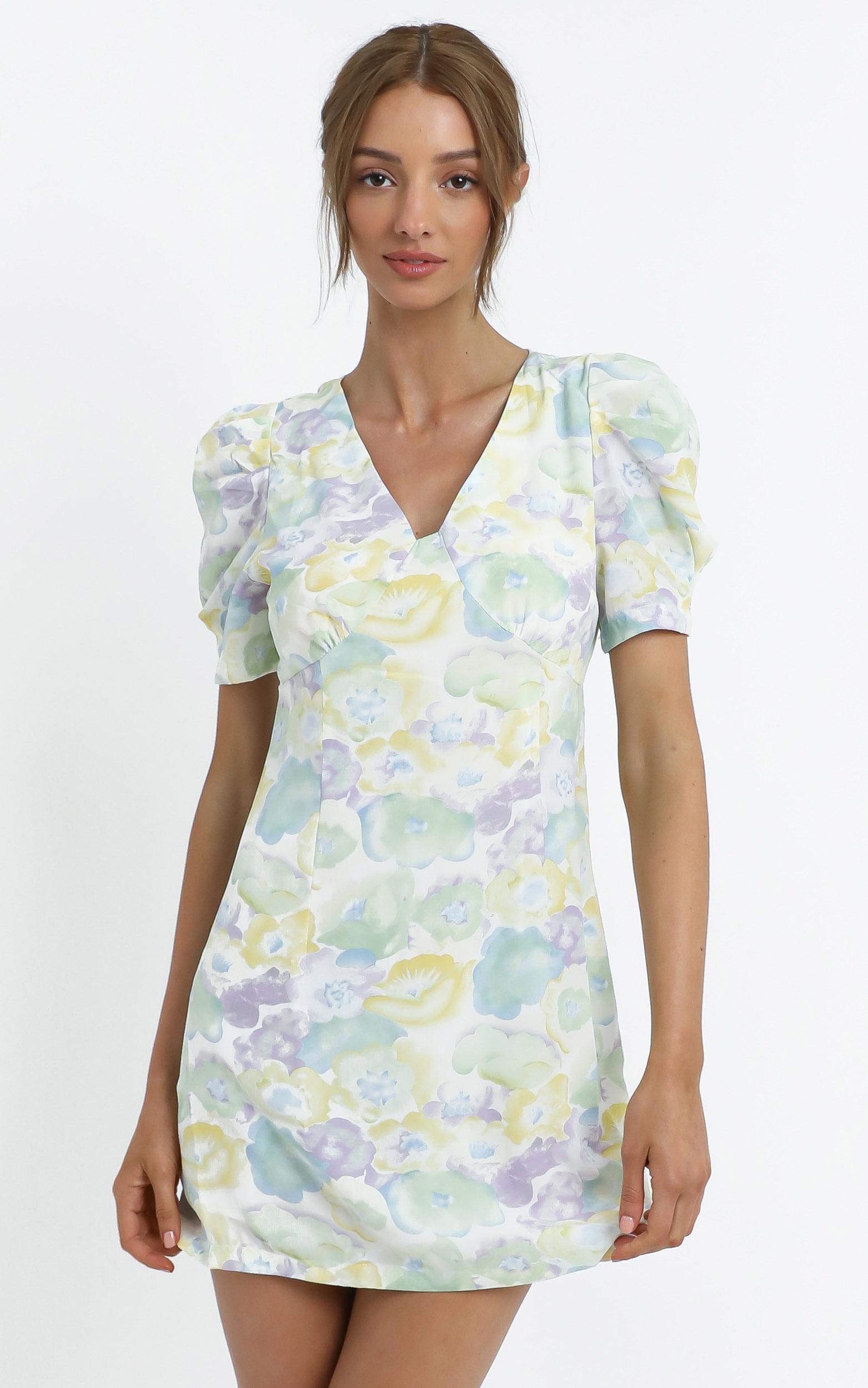 Chandler Dress in Blue Floral - 12 (L), Blue, hi-res image number null