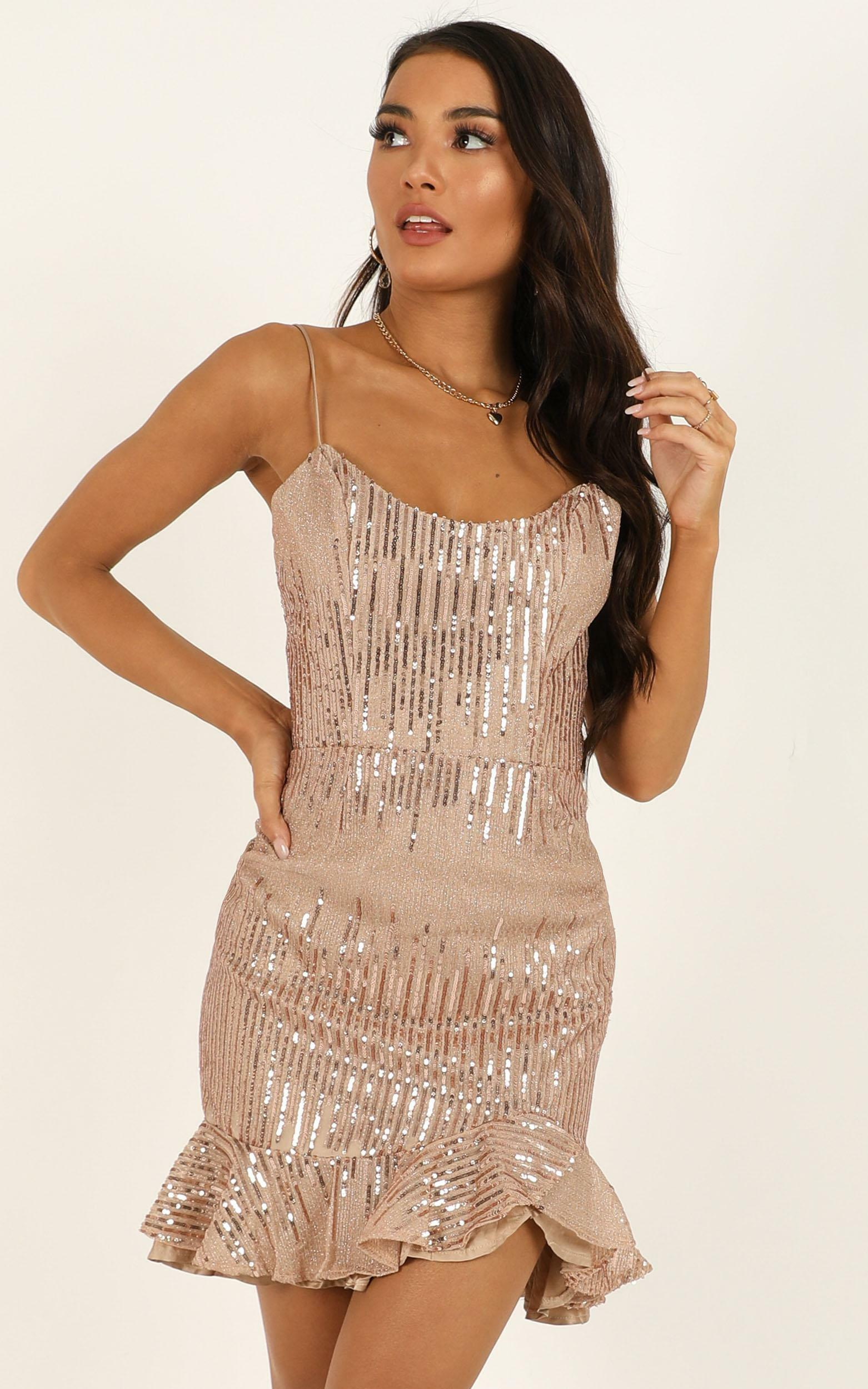 What Do You Think About Me Dress in rose gold sequin - 12 (L), Rose Gold, hi-res image number null