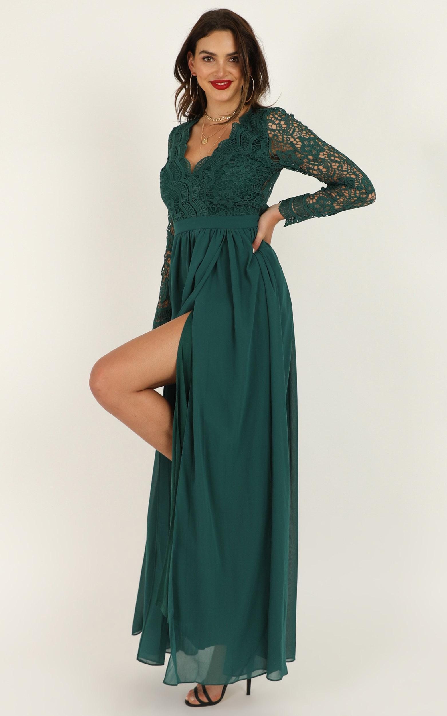 Power Up maxi dress in emerald green lace - 12 (L), Green, hi-res image number null