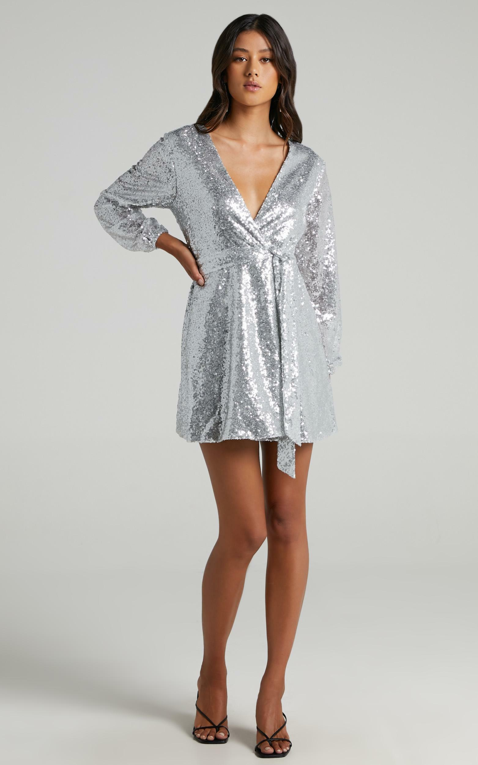 Three Of Us Dress in silver sequin - 20 (XXXXL), Silver, hi-res image number null