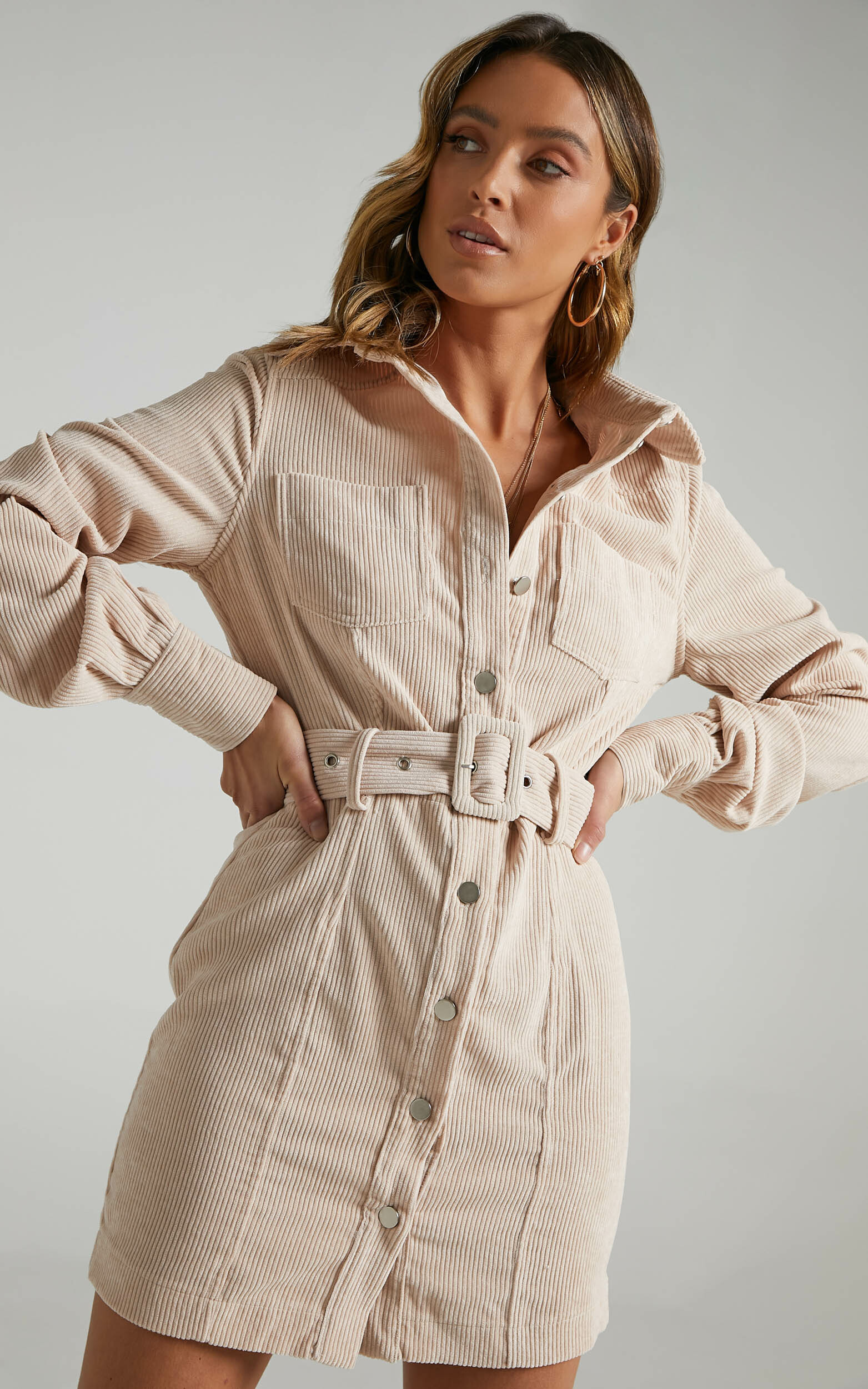 Lida Mini Long Sleeve Belted Corduroy Dress in Cream - 06, CRE3, hi-res image number null