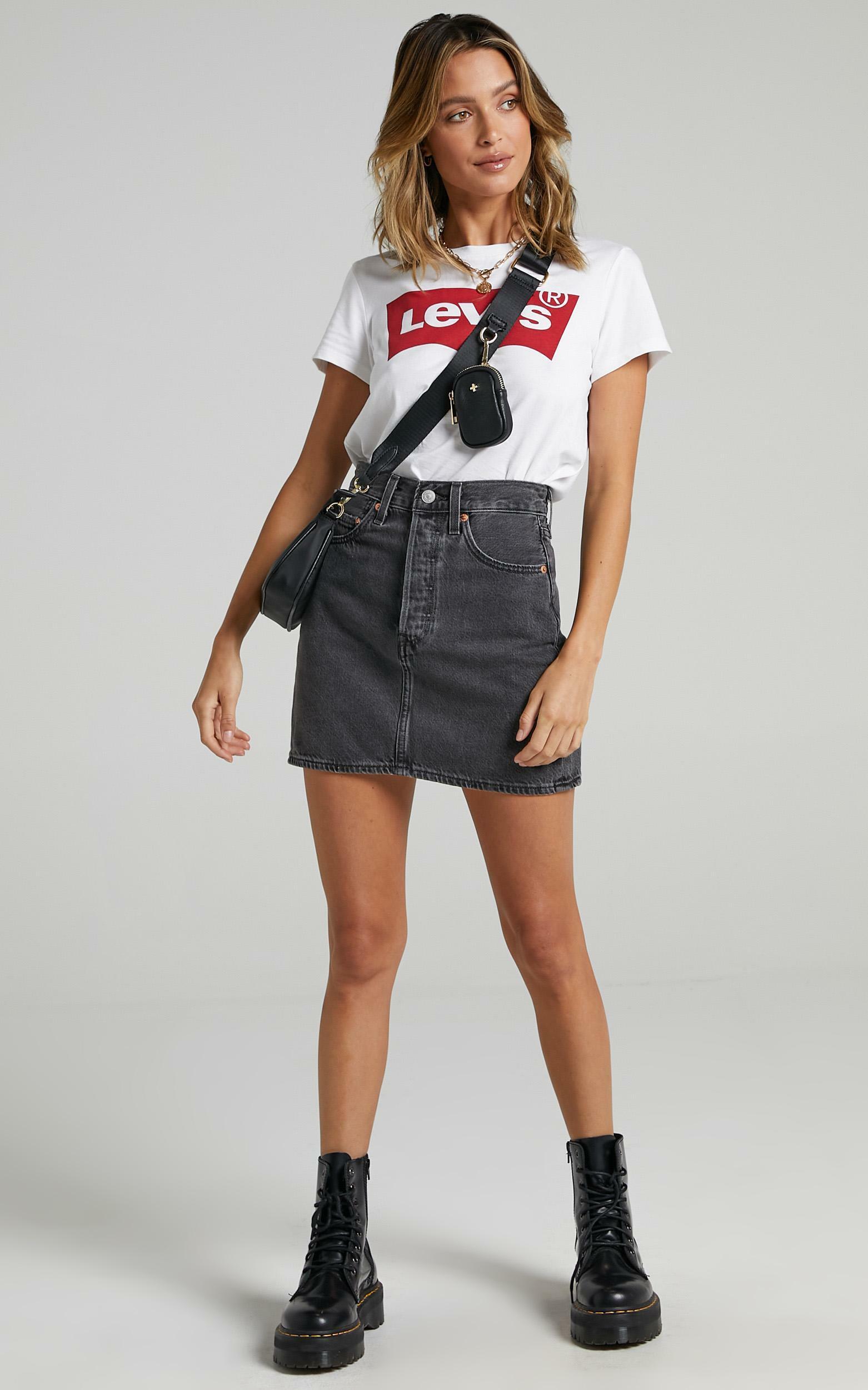 Levis - Ribcage Denim Skirt in Washed Noir Black - 06, BLK1, hi-res image number null