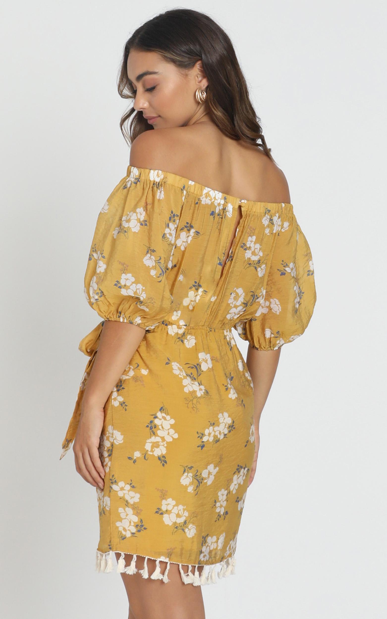 Ettie Bardot Dress in mustard floral - 6 (XS), Mustard, hi-res image number null
