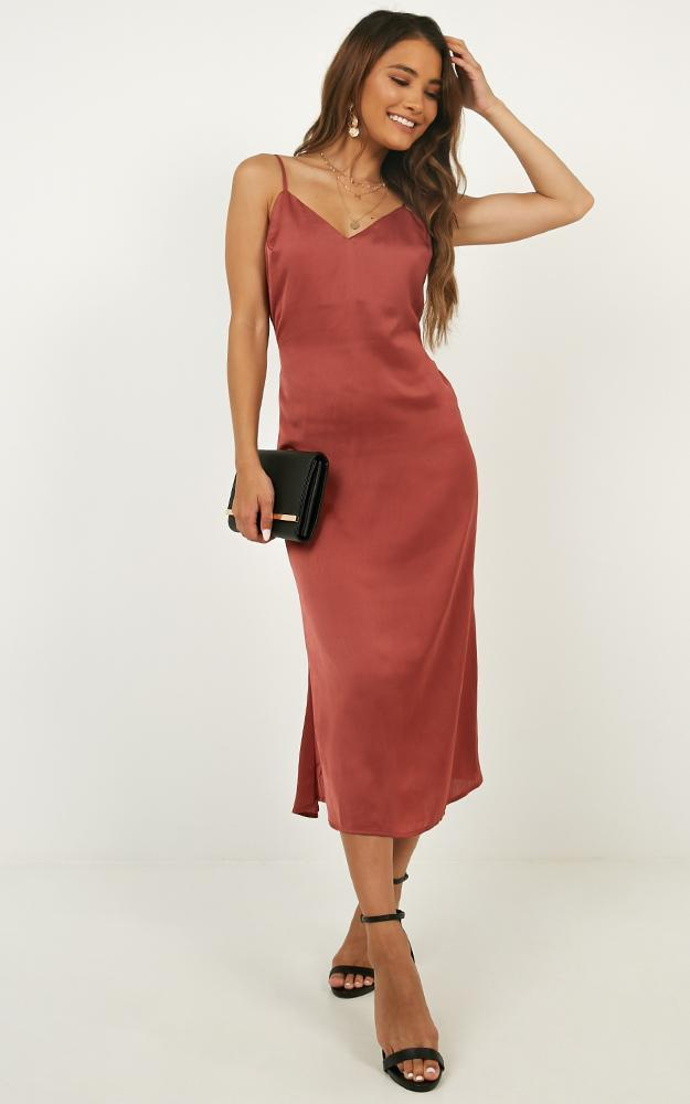 Hello World midi dress in rose satin - 12 (L), Pink, hi-res image number null