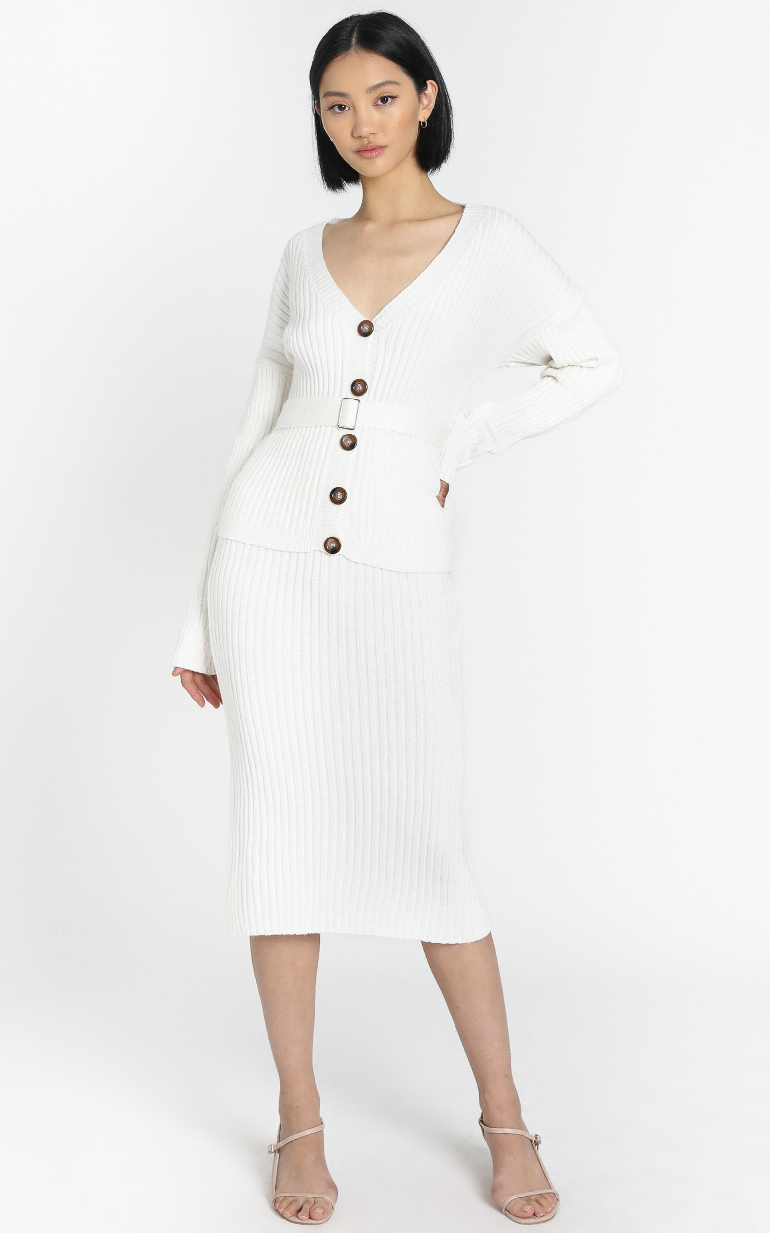 Vassalli Knitted Two Piece Set in white - S/M, White, hi-res image number null
