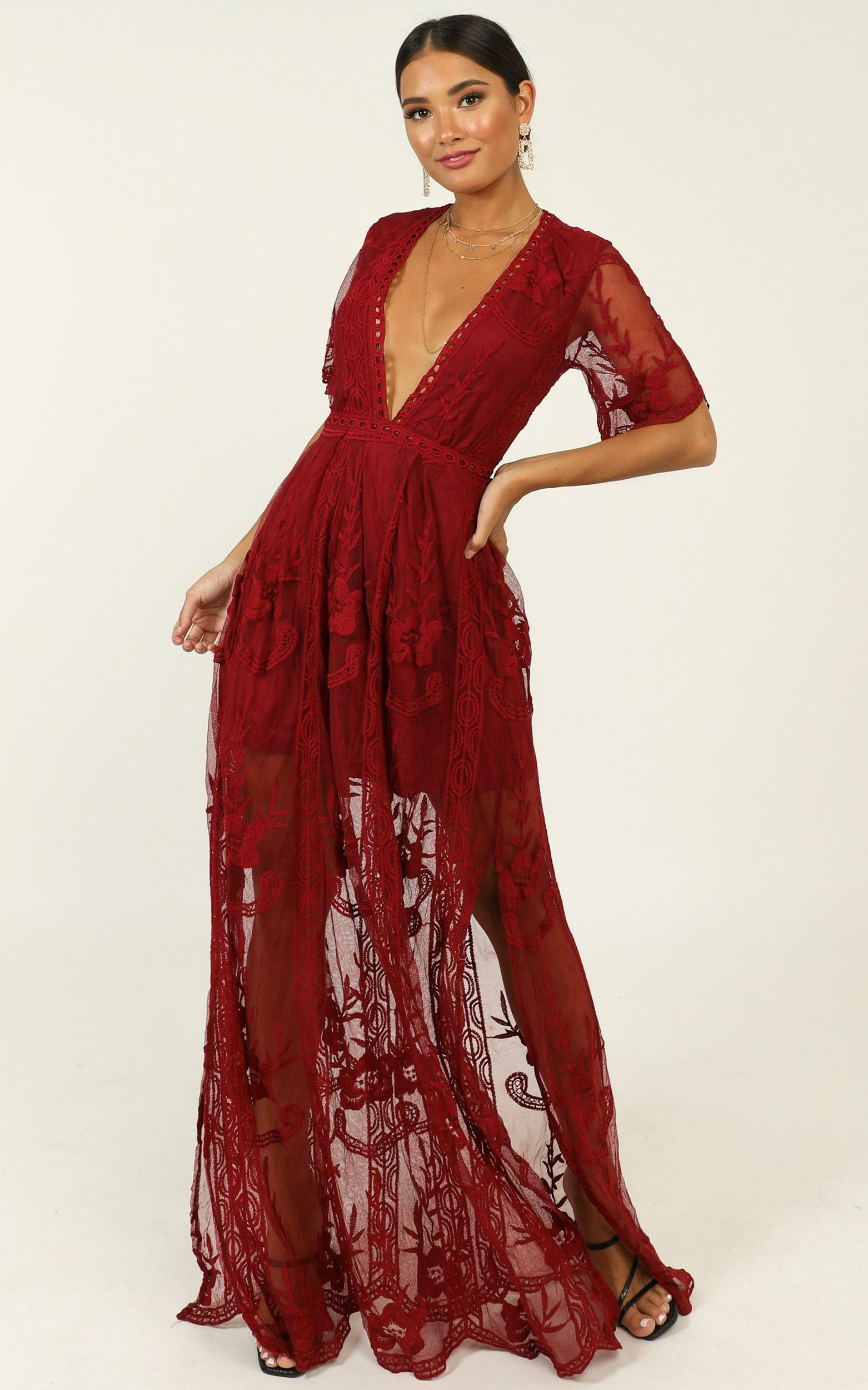 Love Spell Maxi dress in wine lace - 6 (XS), Wine, hi-res image number null
