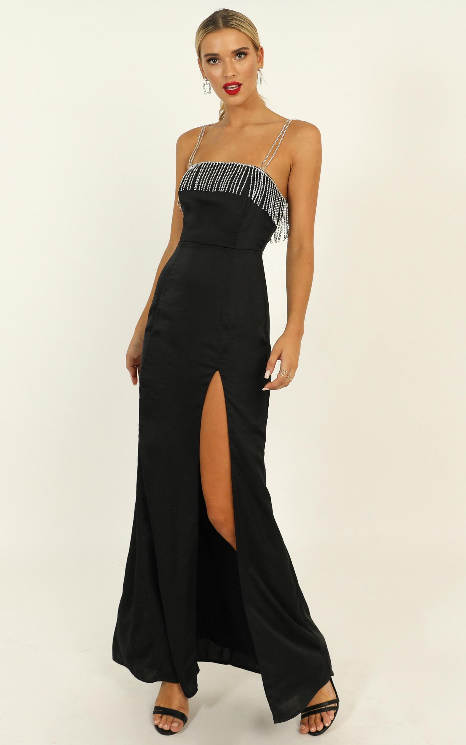 Absolutely Flawless Dress in black satin - 20 (XXXXL), Black, hi-res image number null