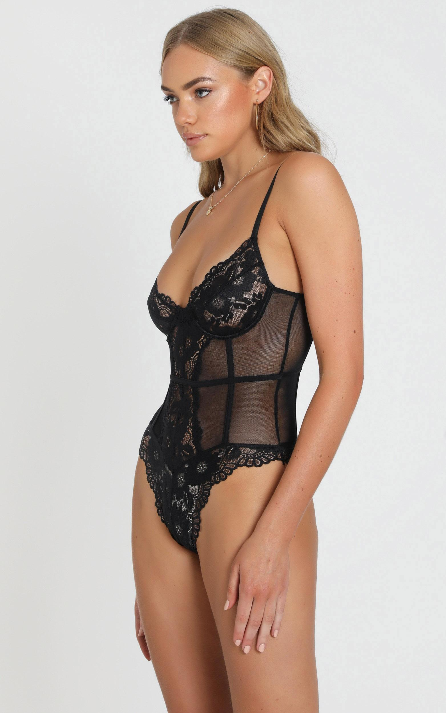 Its All True Bodysuit In Black Lace - 4 (XXS), Black, hi-res image number null