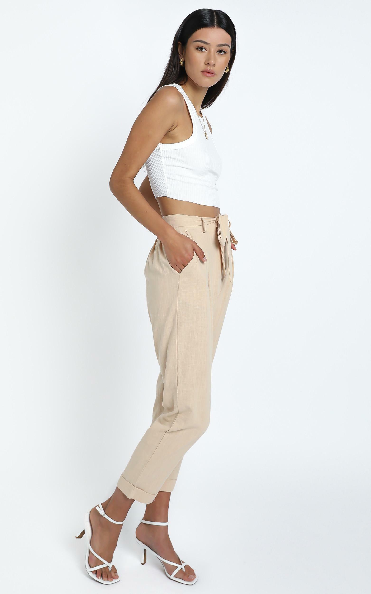 Clover Pants in Beige Linen Look - 14 (XL), Beige, hi-res image number null
