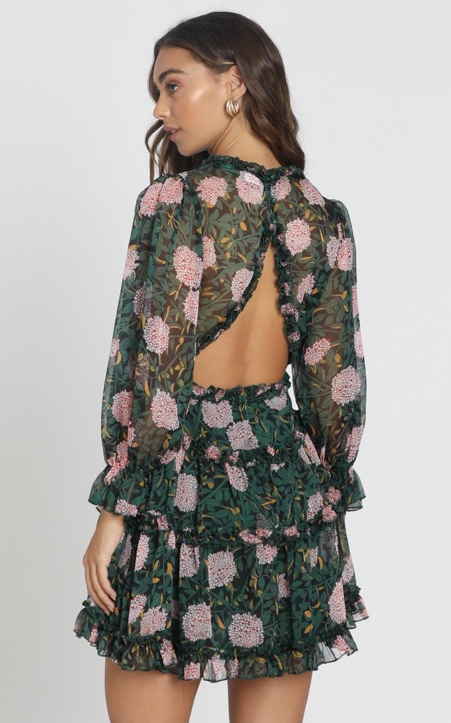 Ederly Dress in green floral - 6 (XS), Green, hi-res image number null