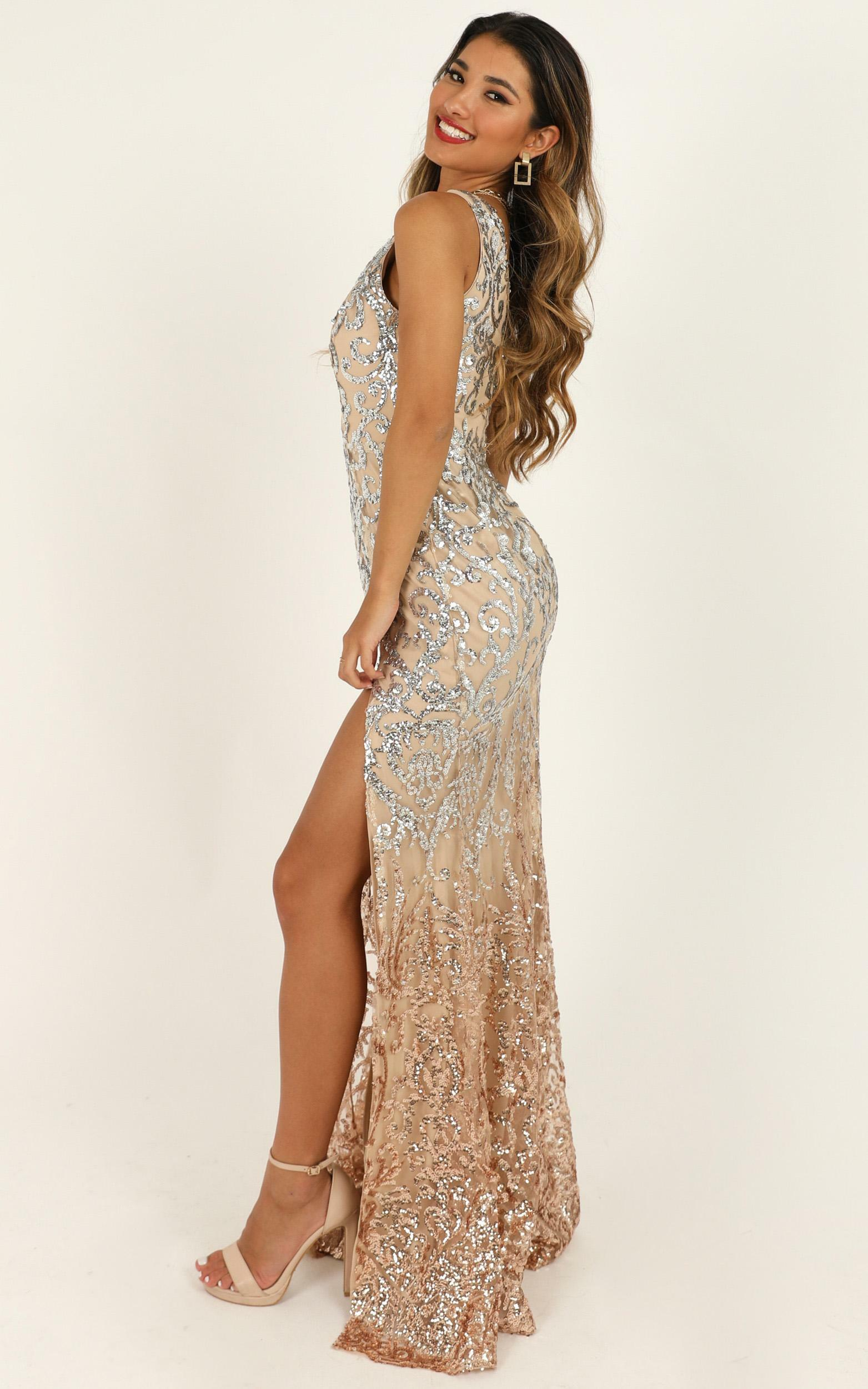 Two In A Million maxi dress in rose gold sequin - 8 (S), Gold, hi-res image number null