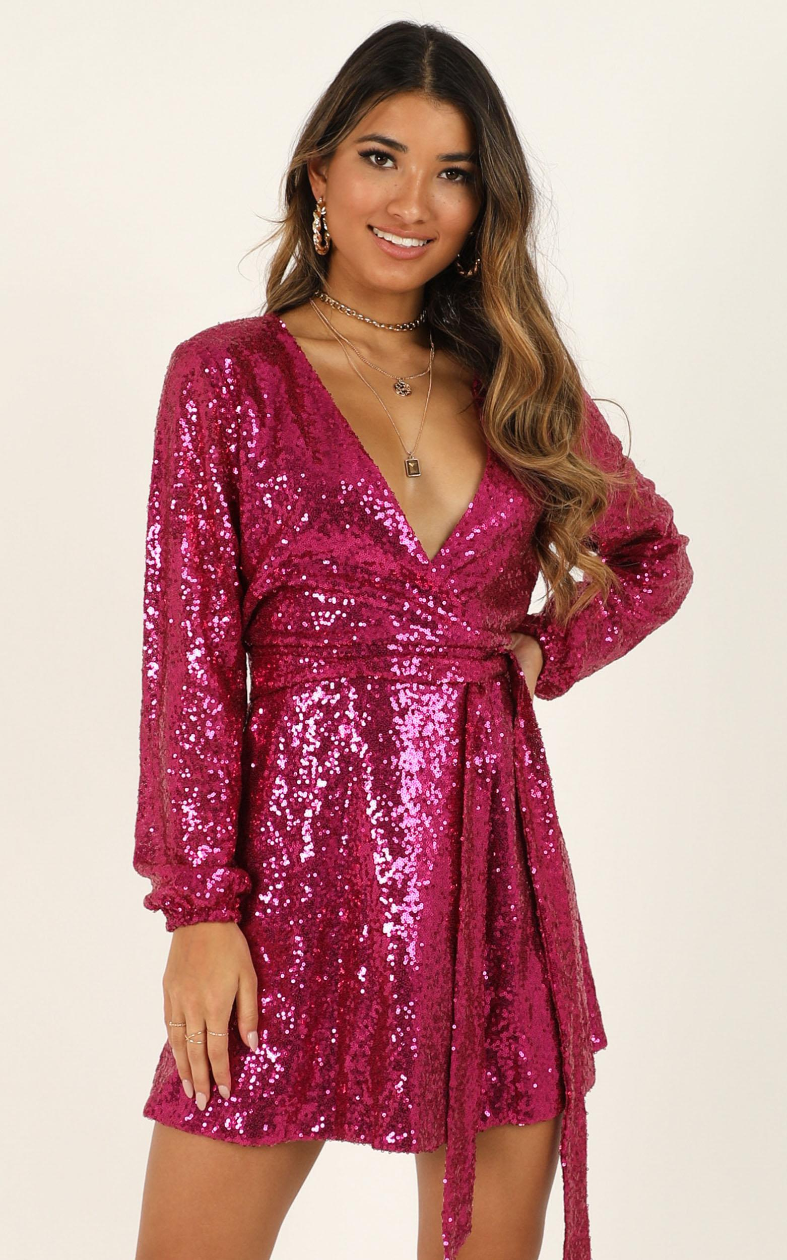Three Of Us Dress in pink sequin - 14 (XL), Pink, hi-res image number null