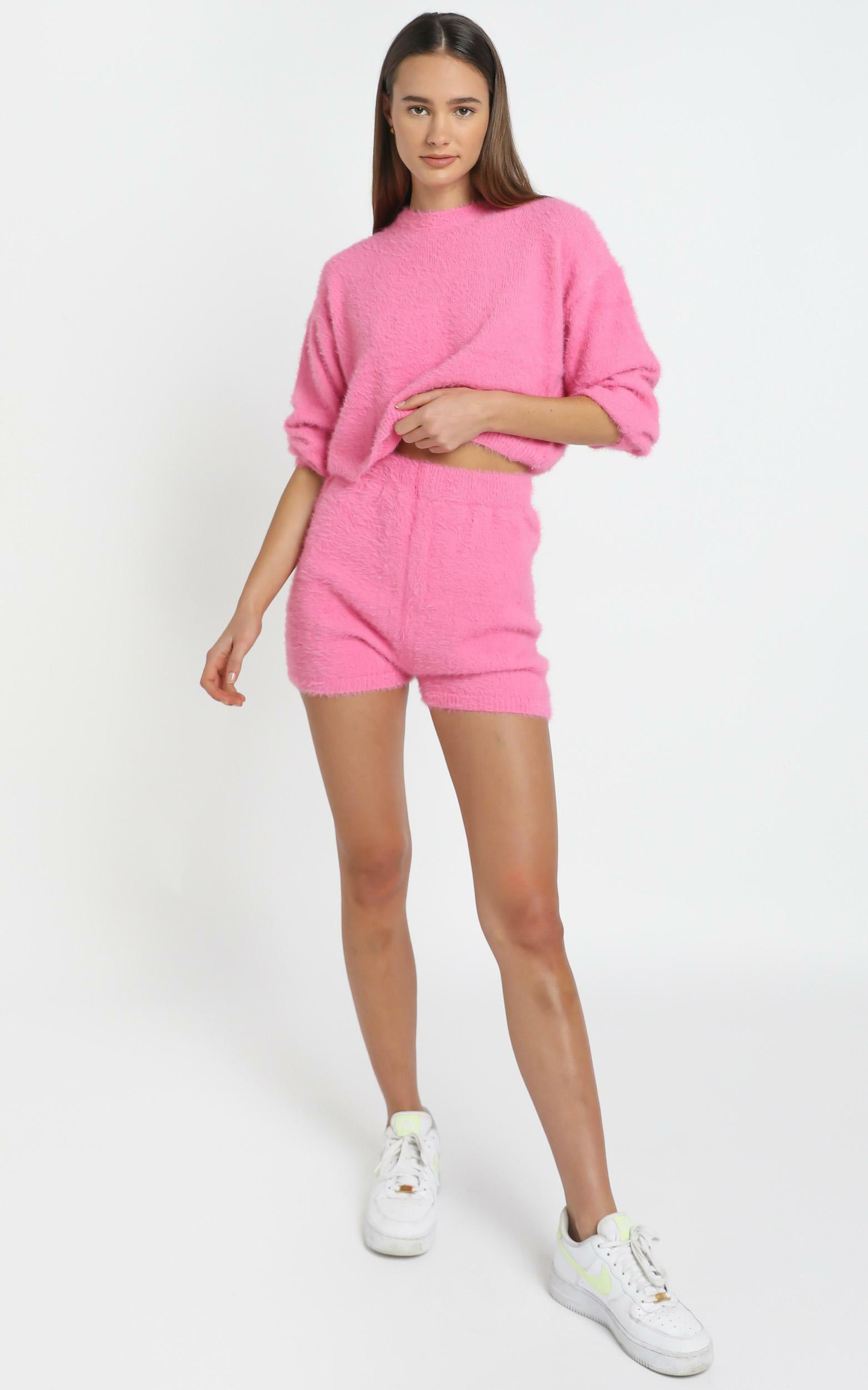 Loretta Fluffy Knit Two Piece Set in Hot Pink - L/XL, Pink, hi-res image number null