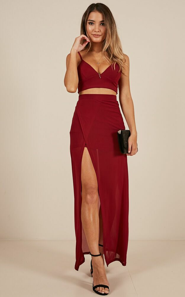 Body Language two piece set in wine - 8 (S), Wine, hi-res image number null