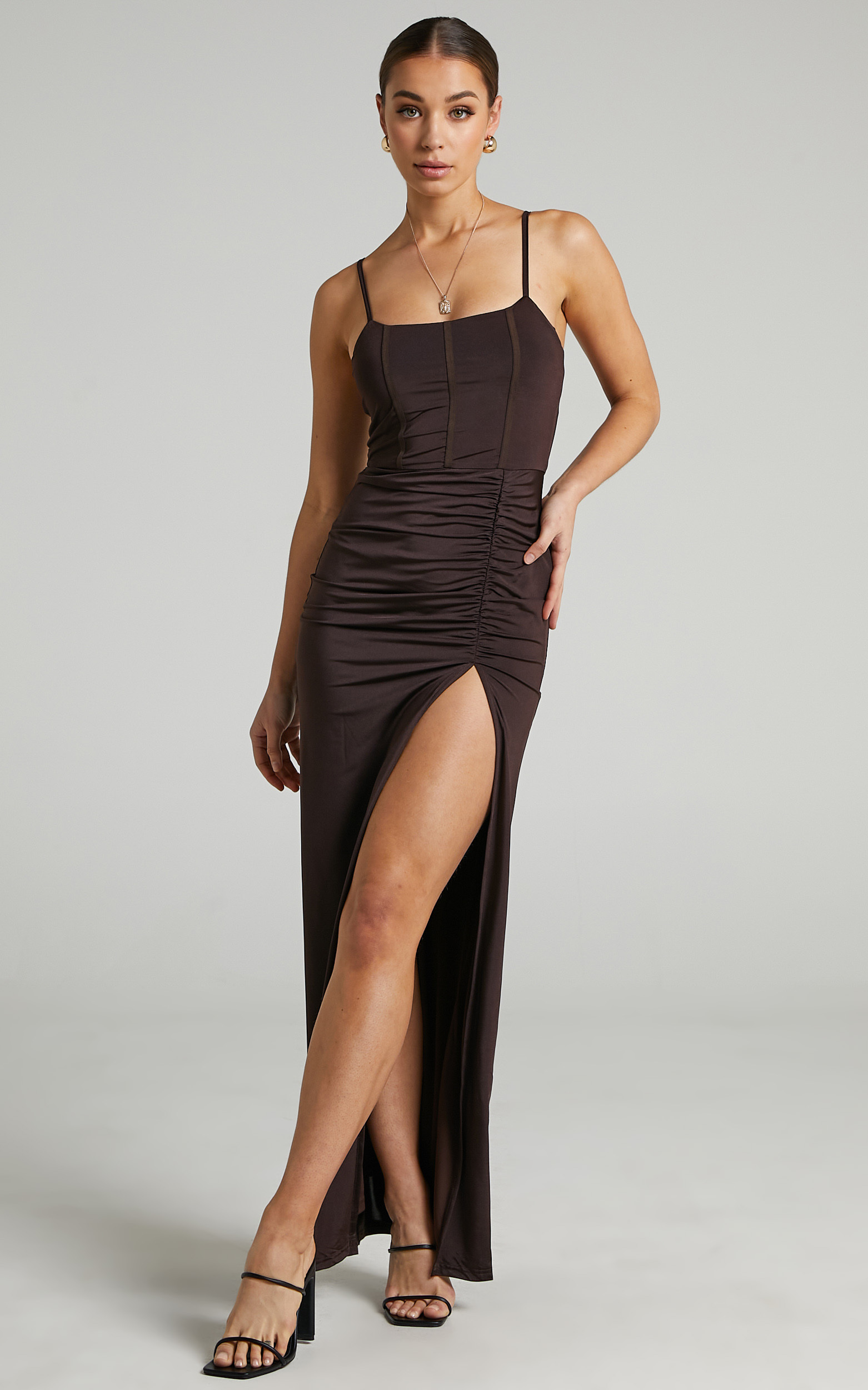 Trinah Corset Maxi Dress in Chocolate - 06, BRN2, hi-res image number null