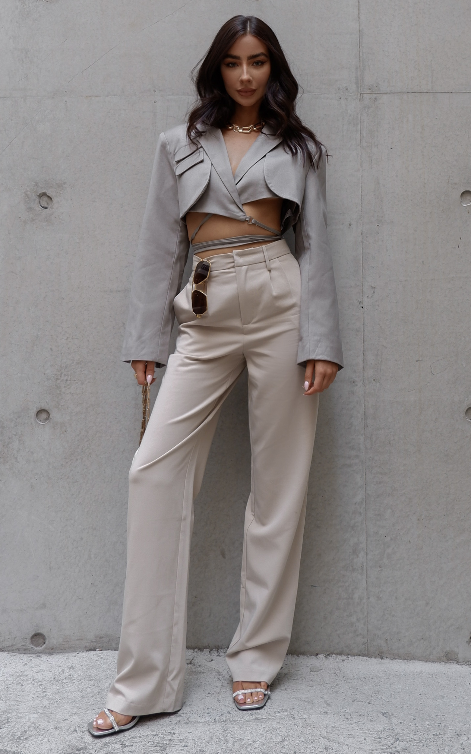Lorcan High Waisted Tailored Pants in Stone - 04, NEU2, hi-res image number null