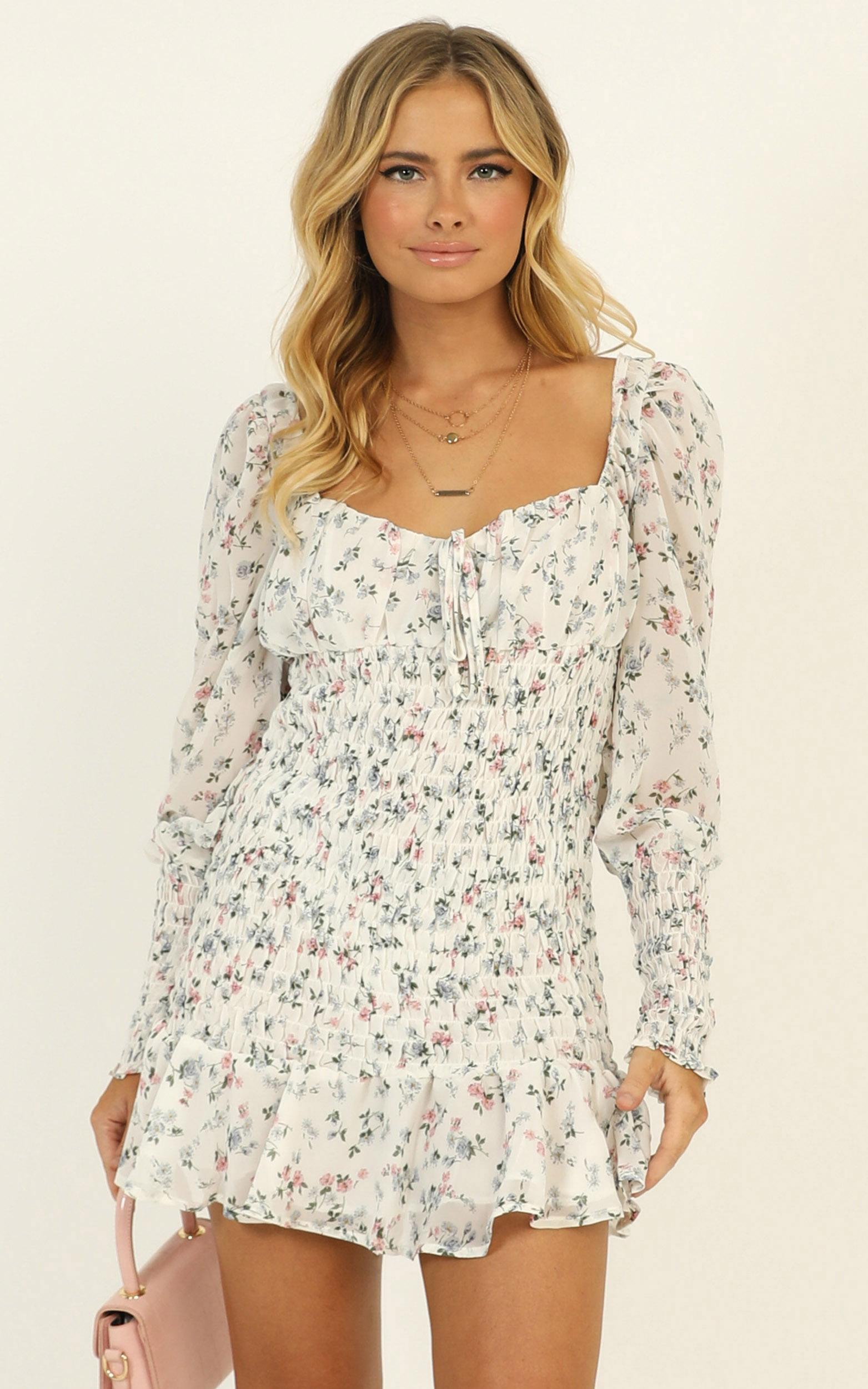 Still Believe dress in white floral - 12 (L), White, hi-res image number null