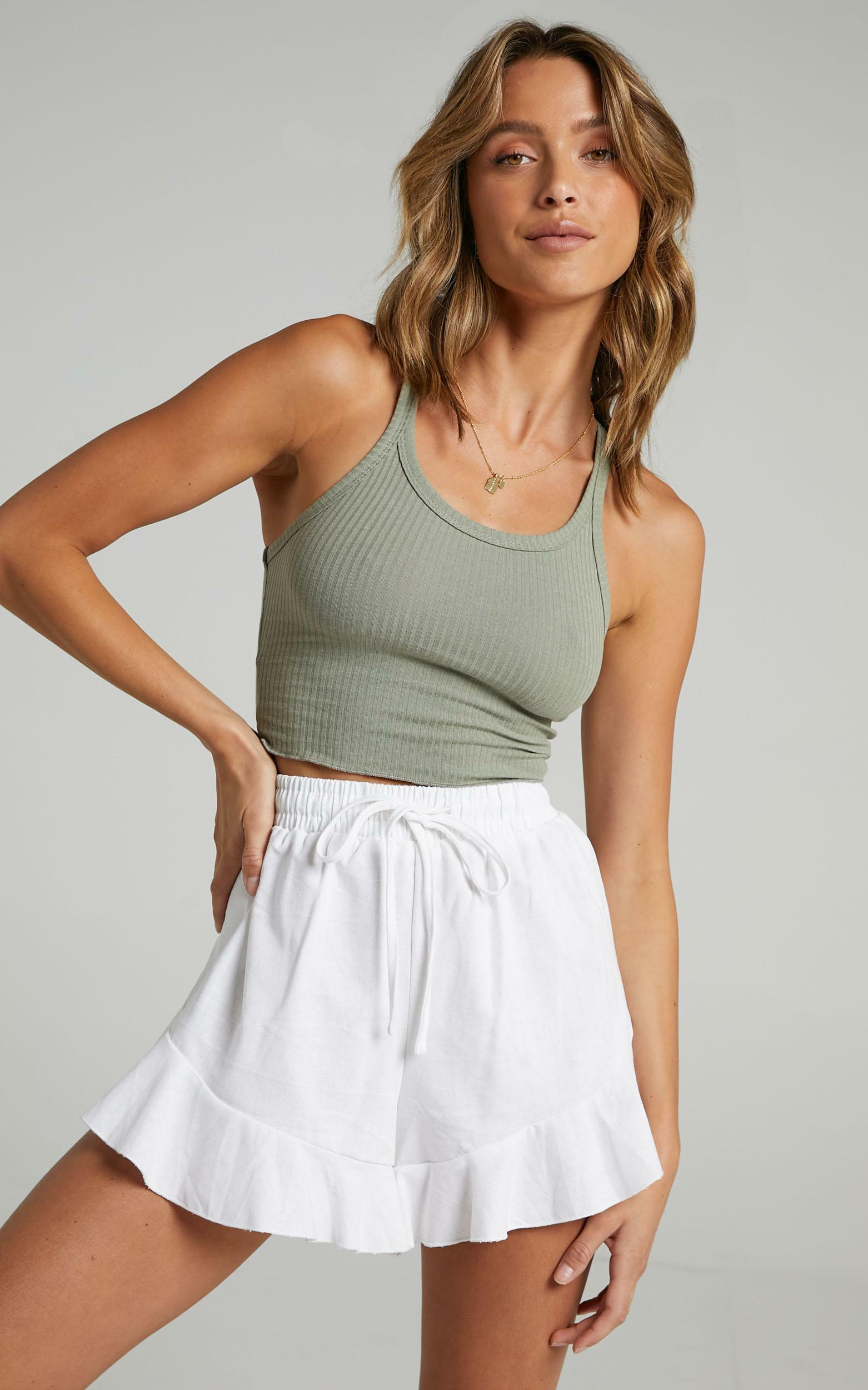 Beach Vibes Shorts In White - 4 (XXS), White, hi-res image number null