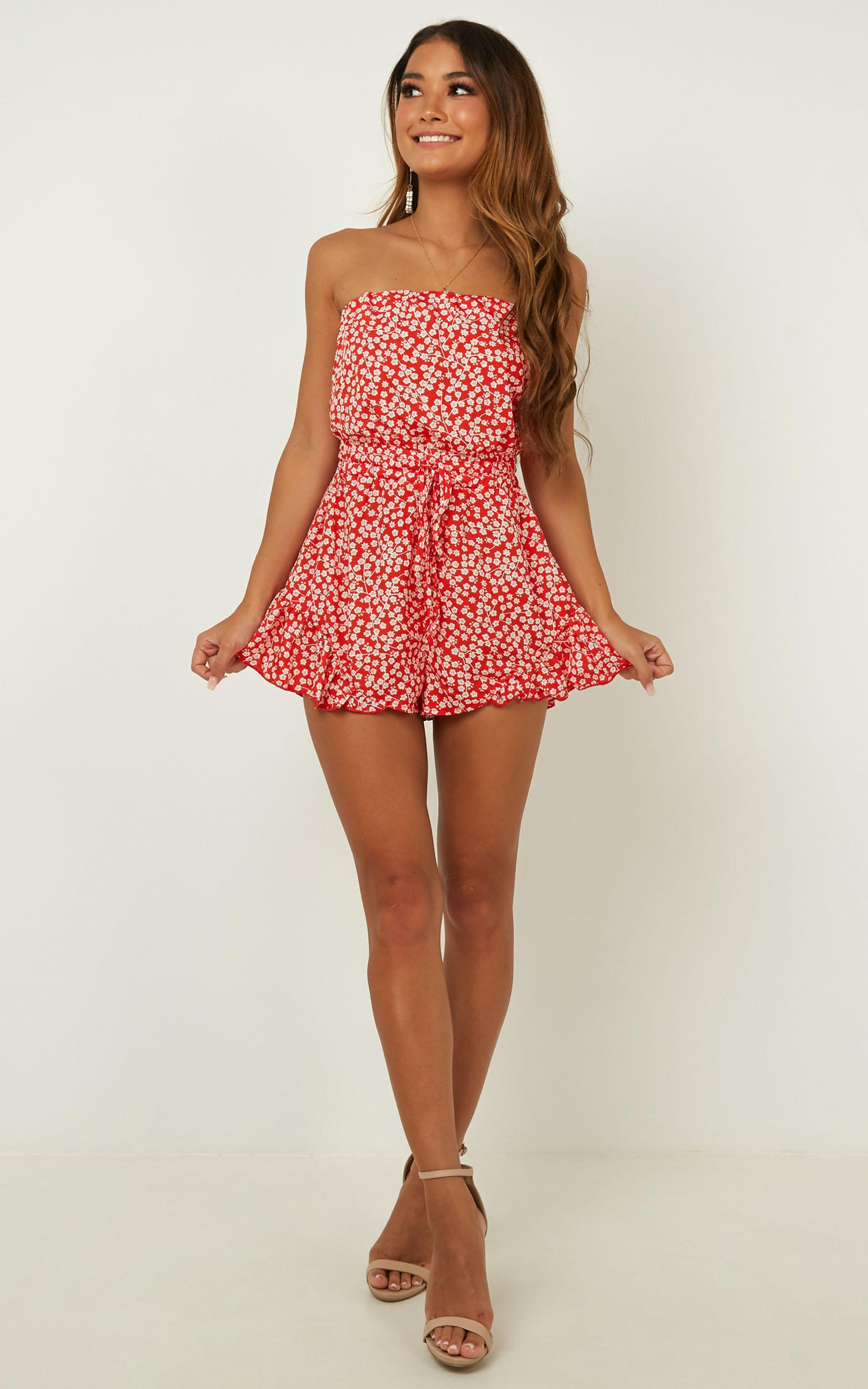 Pretty Little Lies Playsuit In Red Print - 16 (XXL), Red, hi-res image number null