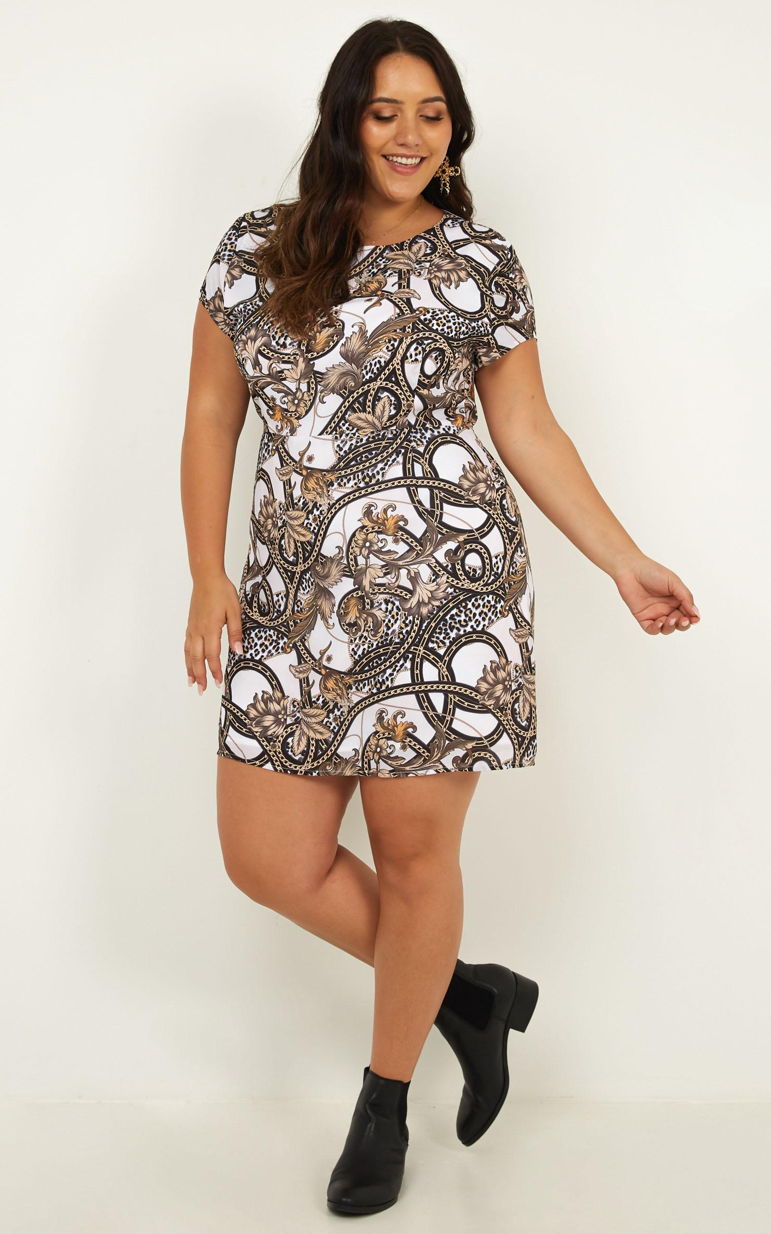 Bird Song Dress In black chain print - 12 (L), Black, hi-res image number null