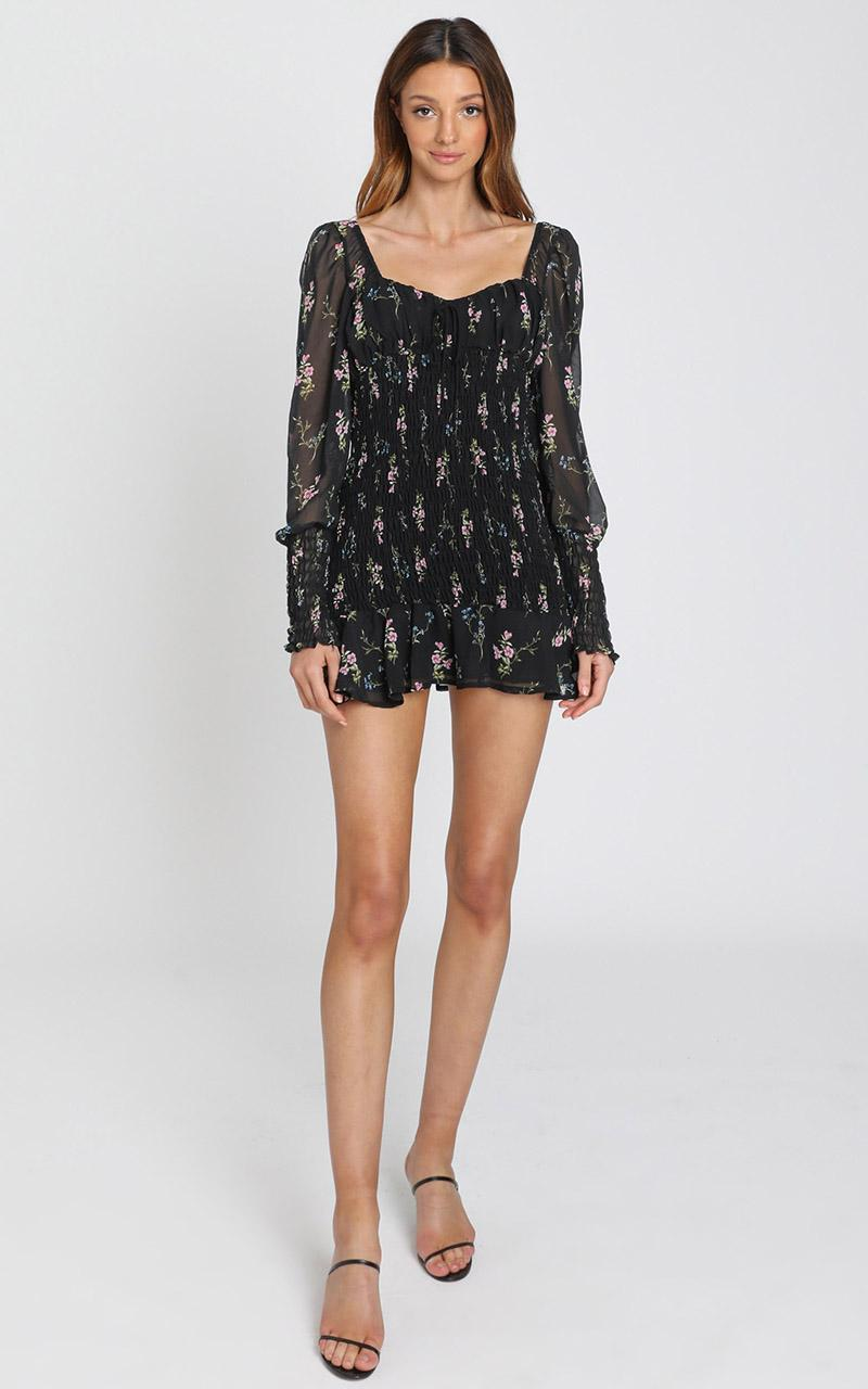 I Get the Love Dress in black floral - 8 (S), Black, hi-res image number null