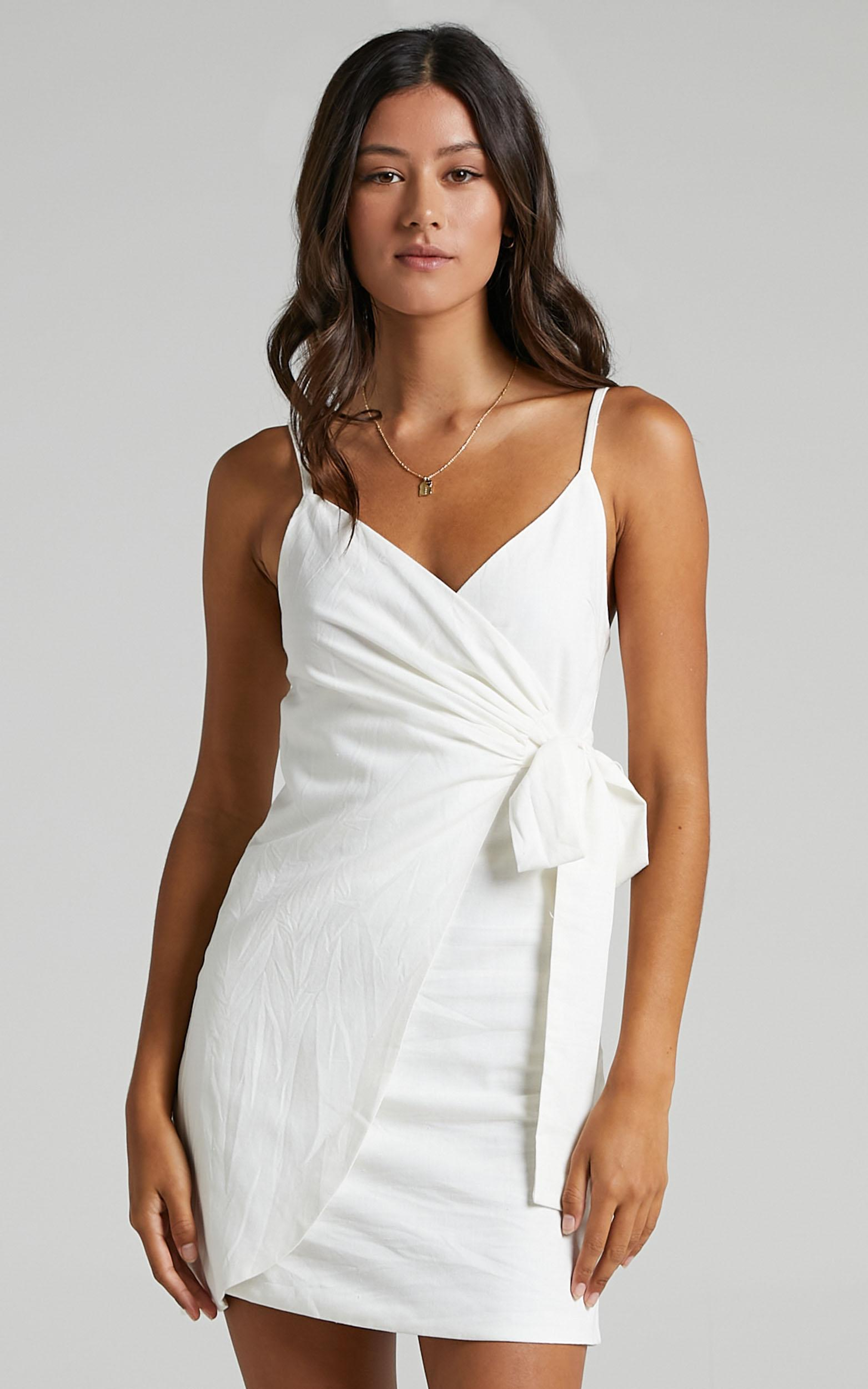 Letting Down Easy Dress in White Linen Look - 04, WHT3, hi-res image number null