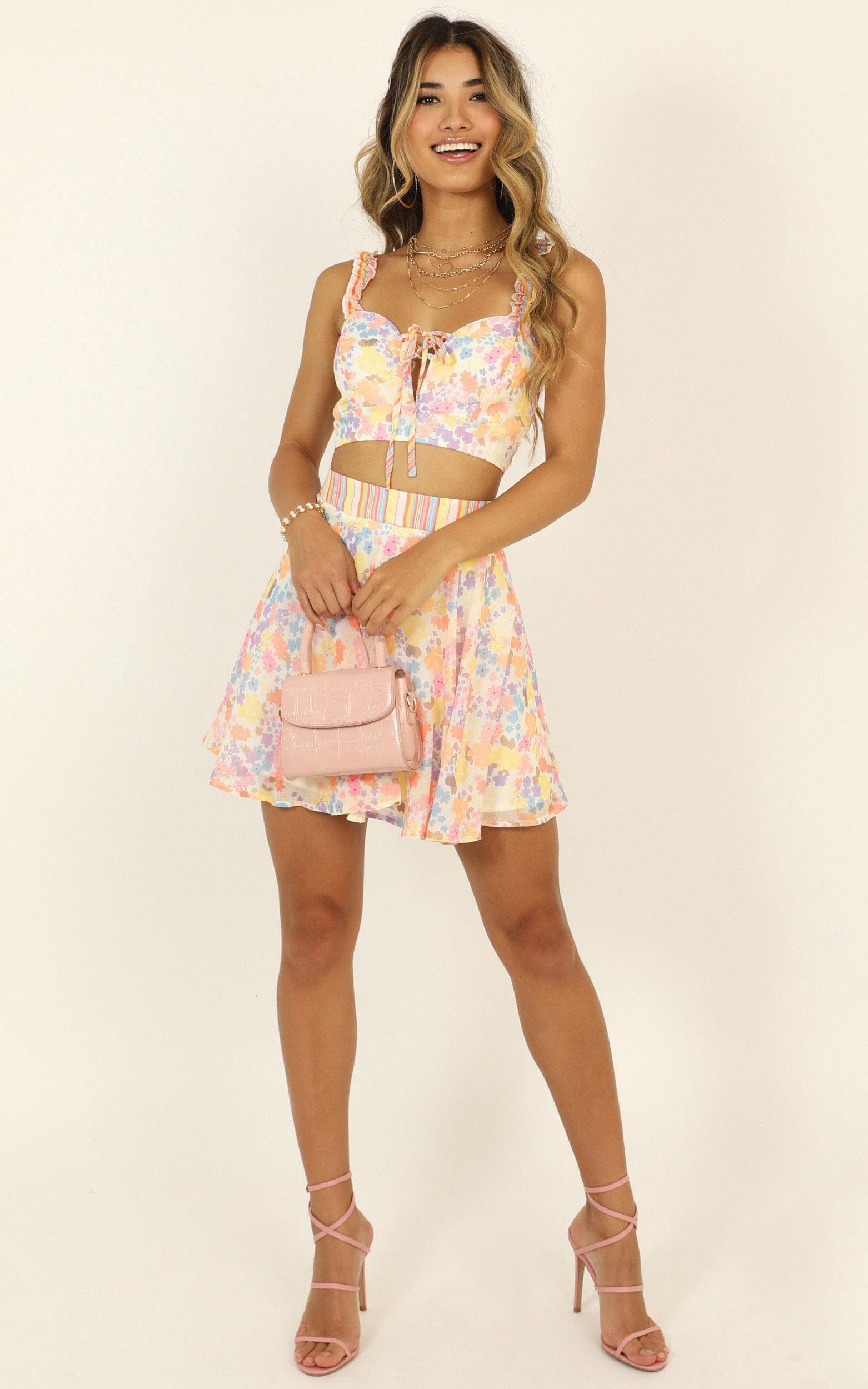 Kiss My Lips Two Piece Set in multi floral stripe - 14 (XL), MLT1, hi-res image number null
