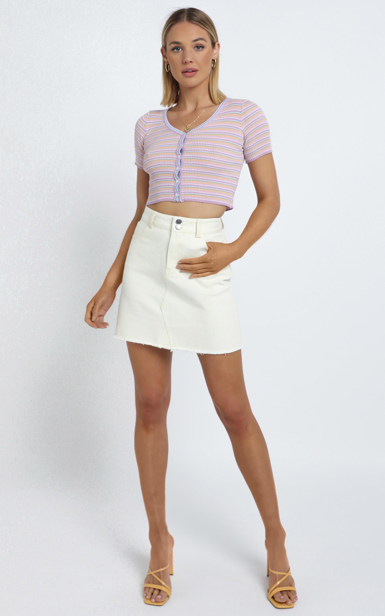 Hilary Denim Skirt in Beige - 14 (XL), CRE1, hi-res image number null