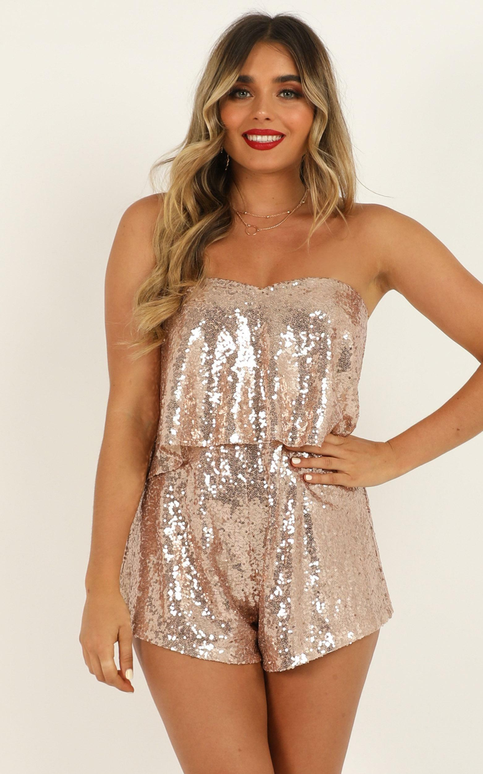 Wrap Out Of It Playsuit in rose gold sequin - 20 (XXXXL), Rose Gold, hi-res image number null
